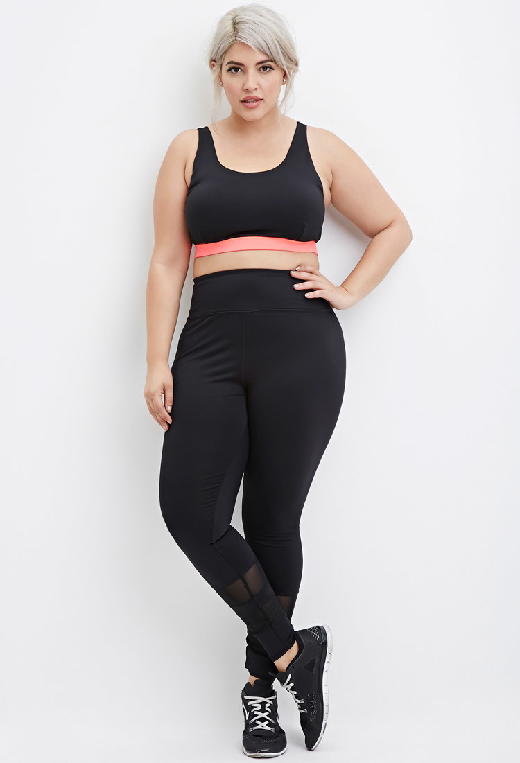 Forever 21 Plus Size Mesh-trimmed Athletic Leggings in Black | Lyst