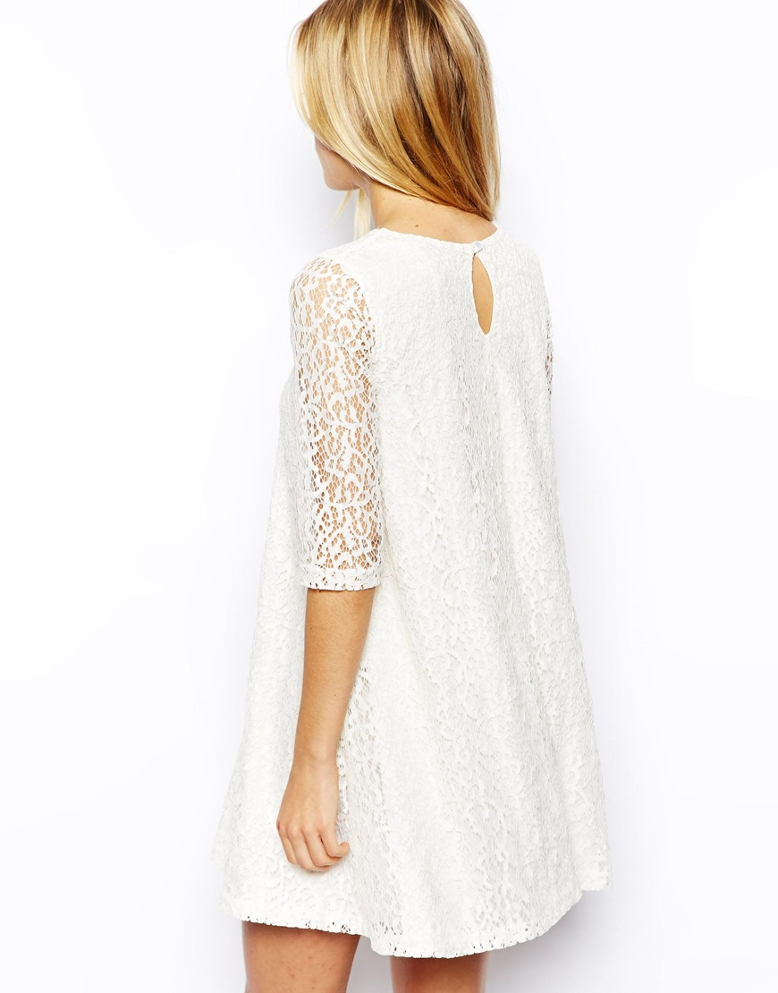 6e9aabd00f32 ASOS Exclusive Lace Swing Dress in White - Lyst