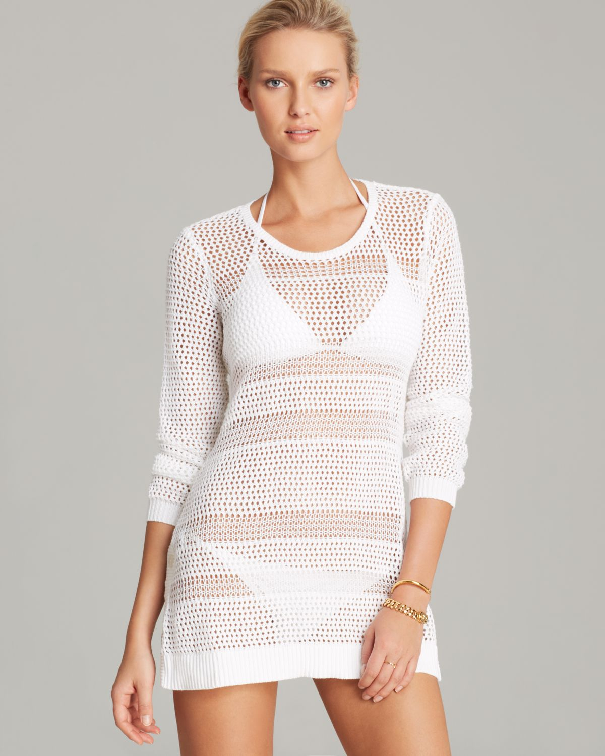 e5dacfcb78 Tommy Bahama Beach Sweater with Side Buttons Swim Cover Up in White ...