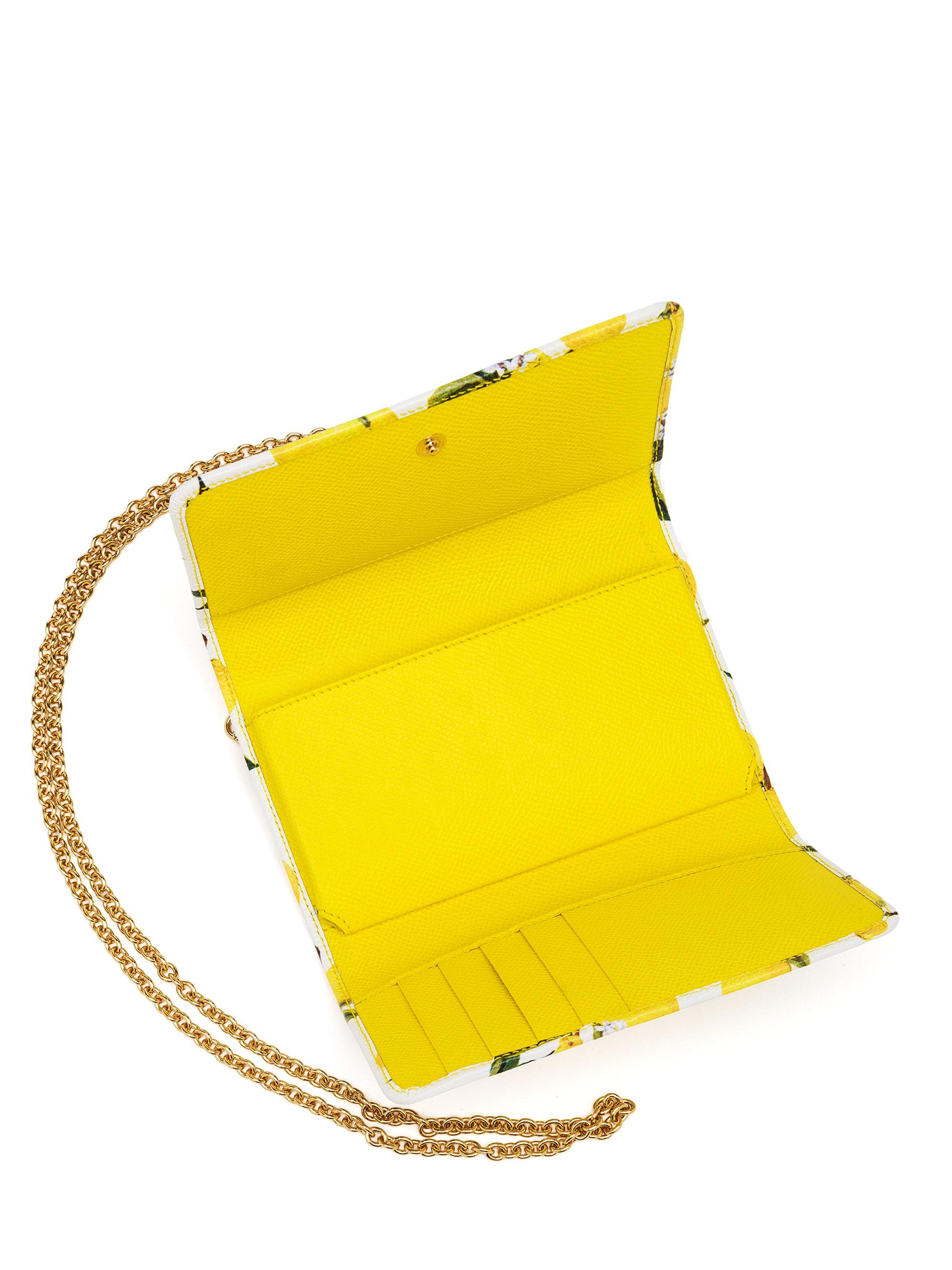45b8ea3101 Lyst - Dolce   Gabbana Lemon-print Textured Leather Smartphone Chain ...