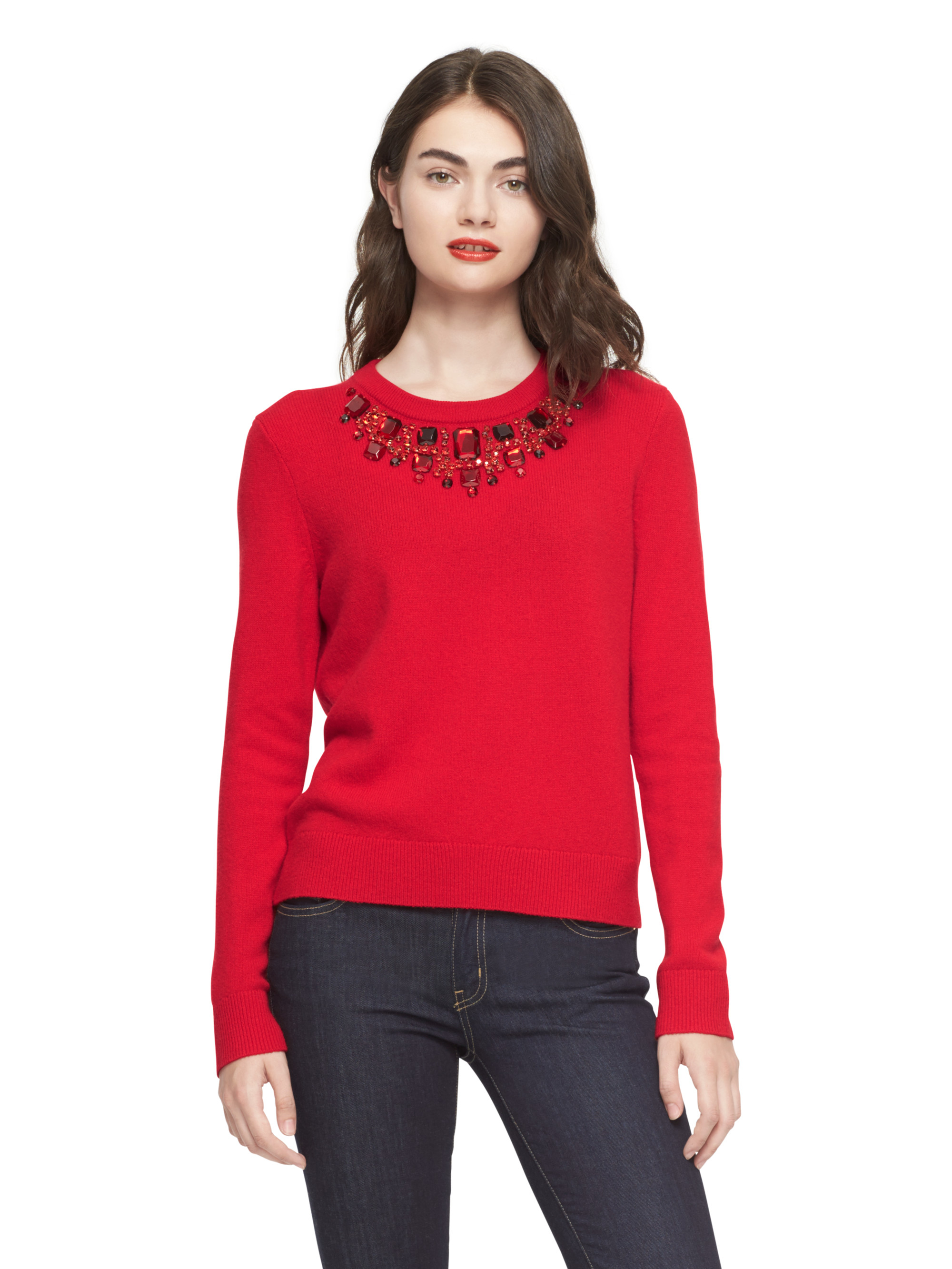 Kate spade new york Embellished Sweater in Red | Lyst
