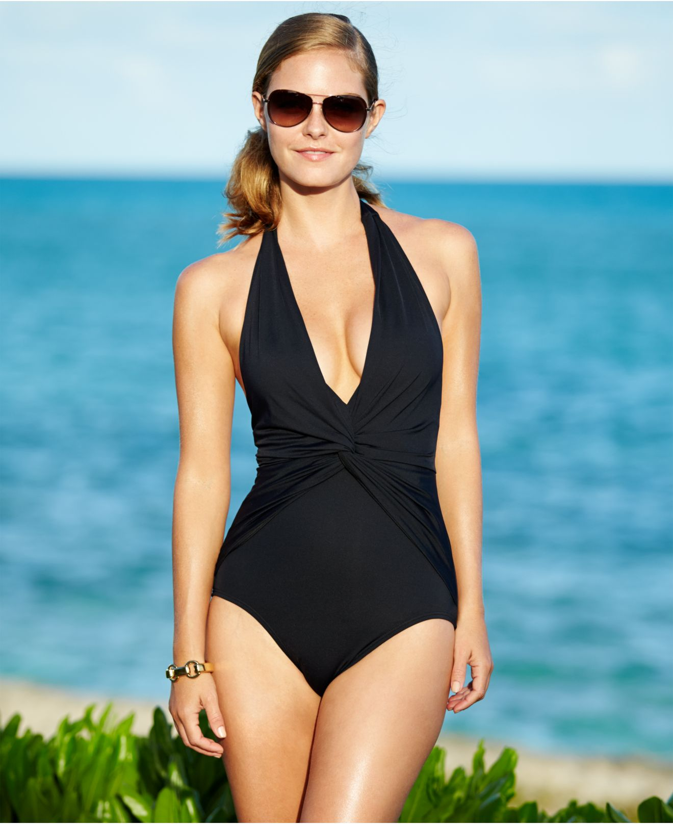 2a13b7ecd5b best Black Halter Top One Piece Swimsuit image collection