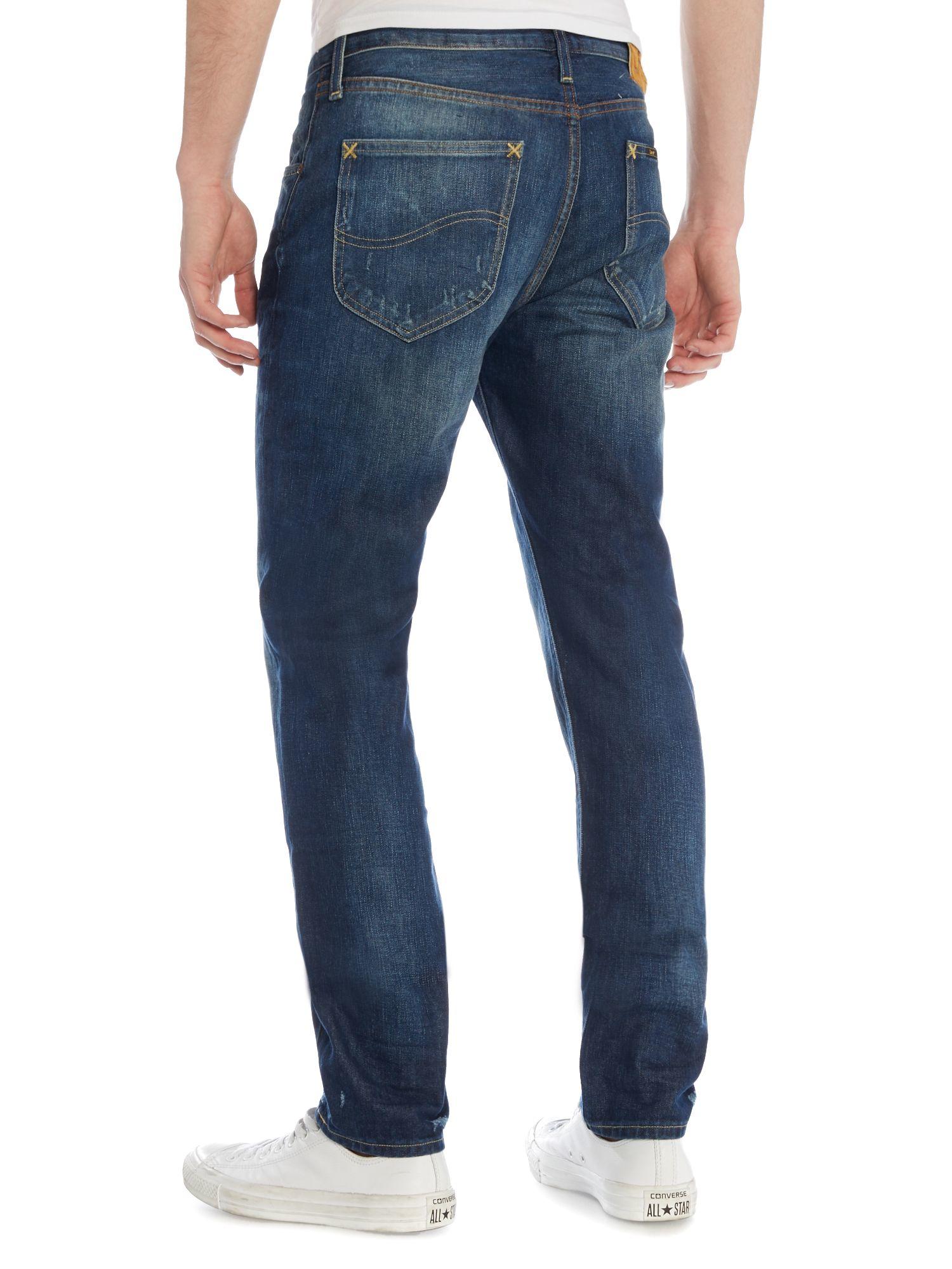lyst lee jeans arvin crushed blue regular fit jeans in blue for men. Black Bedroom Furniture Sets. Home Design Ideas