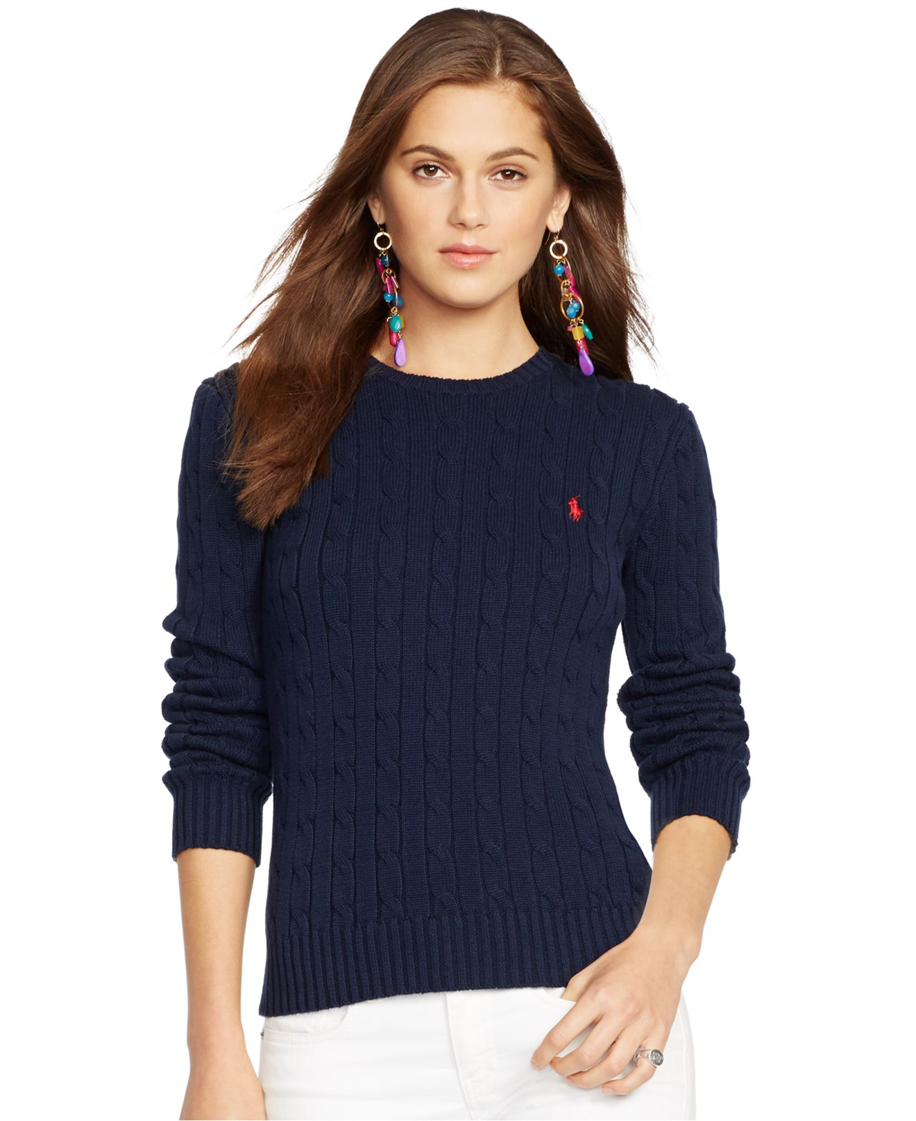 Lyst Polo Ralph Lauren Crew Neck Cable Knit Sweater In Blue