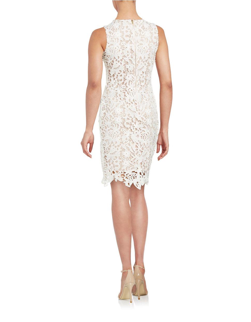 2eabaaa1 Calvin Klein Lace Sheath Dress in Natural - Lyst