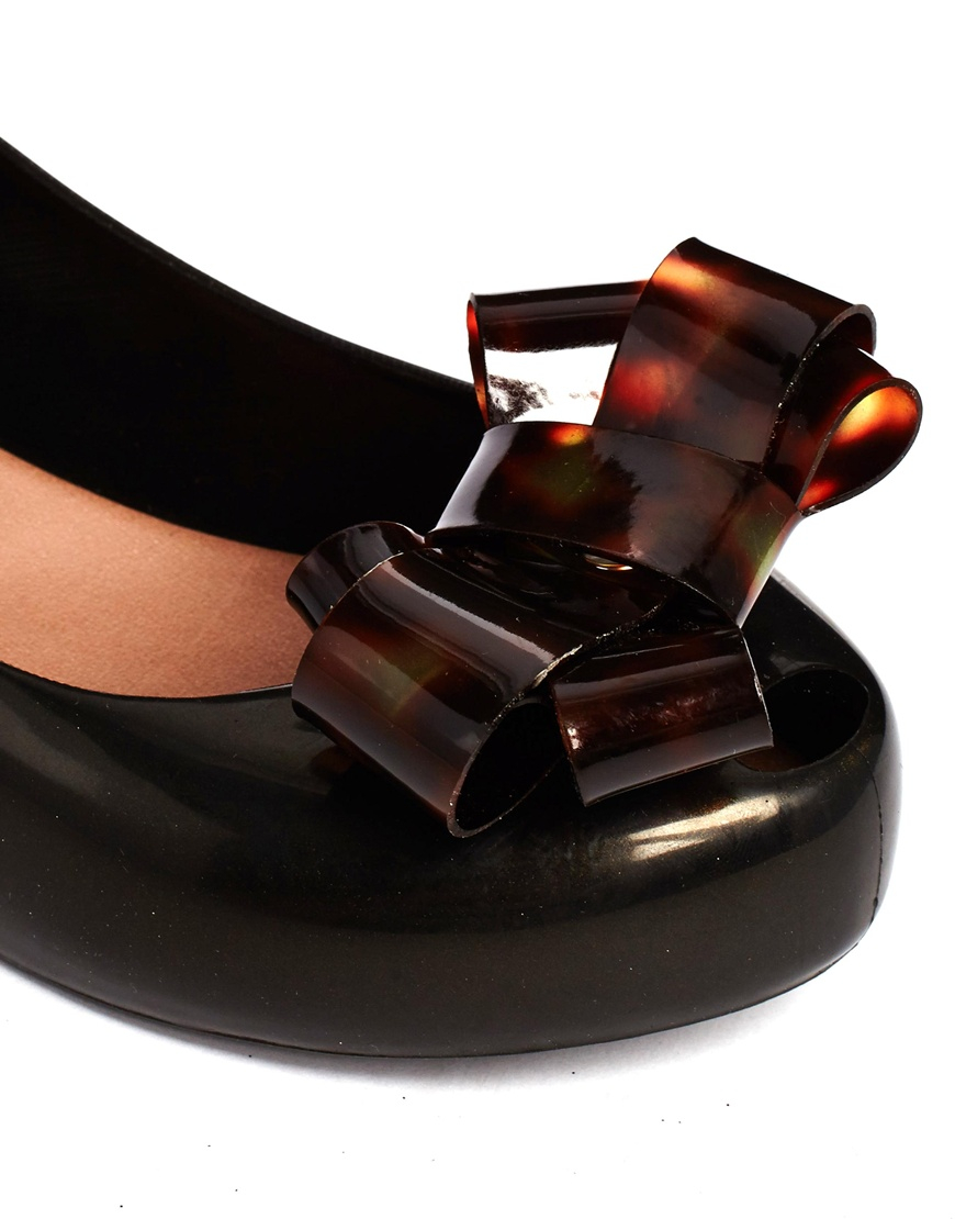 d8cea484a8 Melissa + Vivienne Westwood Anglomania Tortoise Shell Bow Flat Shoes in  Black - Lyst
