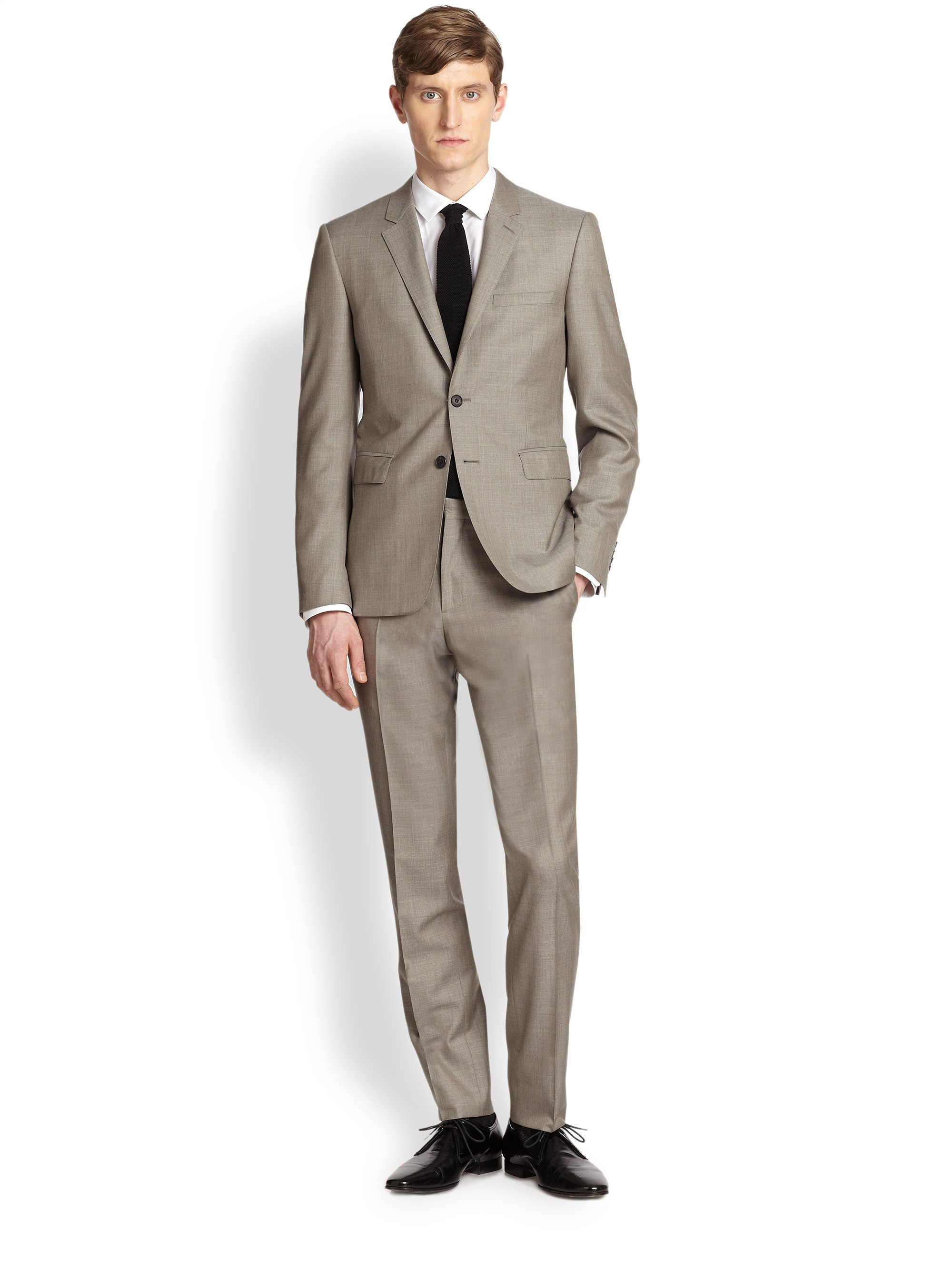 Burberry Stirling Wool Silk Suit in Natural for Men   Lyst