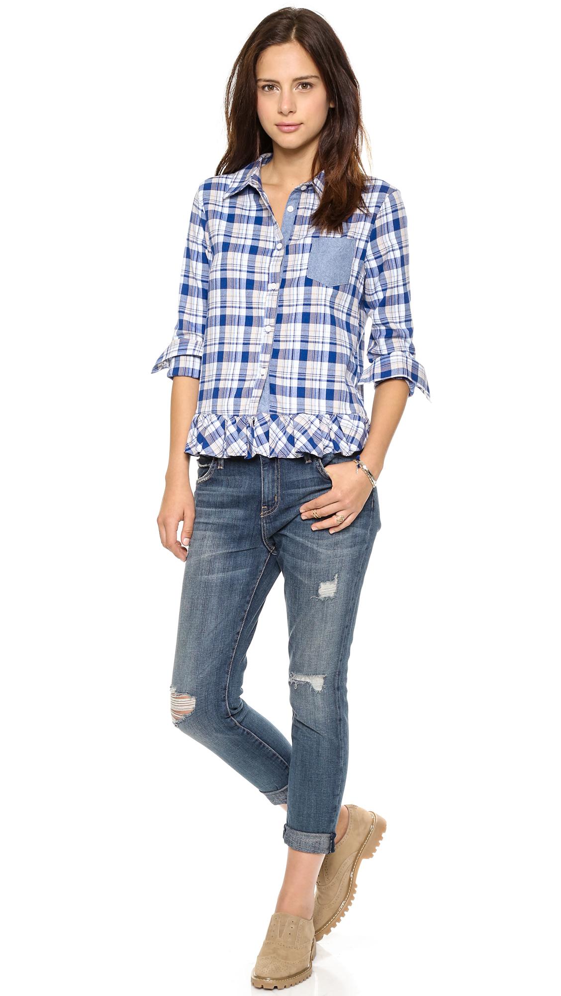 Clu Too Ruffled Plaid Shirt Navy Plaid In Blue Lyst
