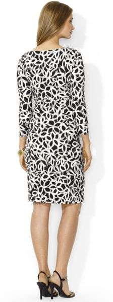 Lauren By Ralph Lauren Animal Print Faux Wrap Dress In