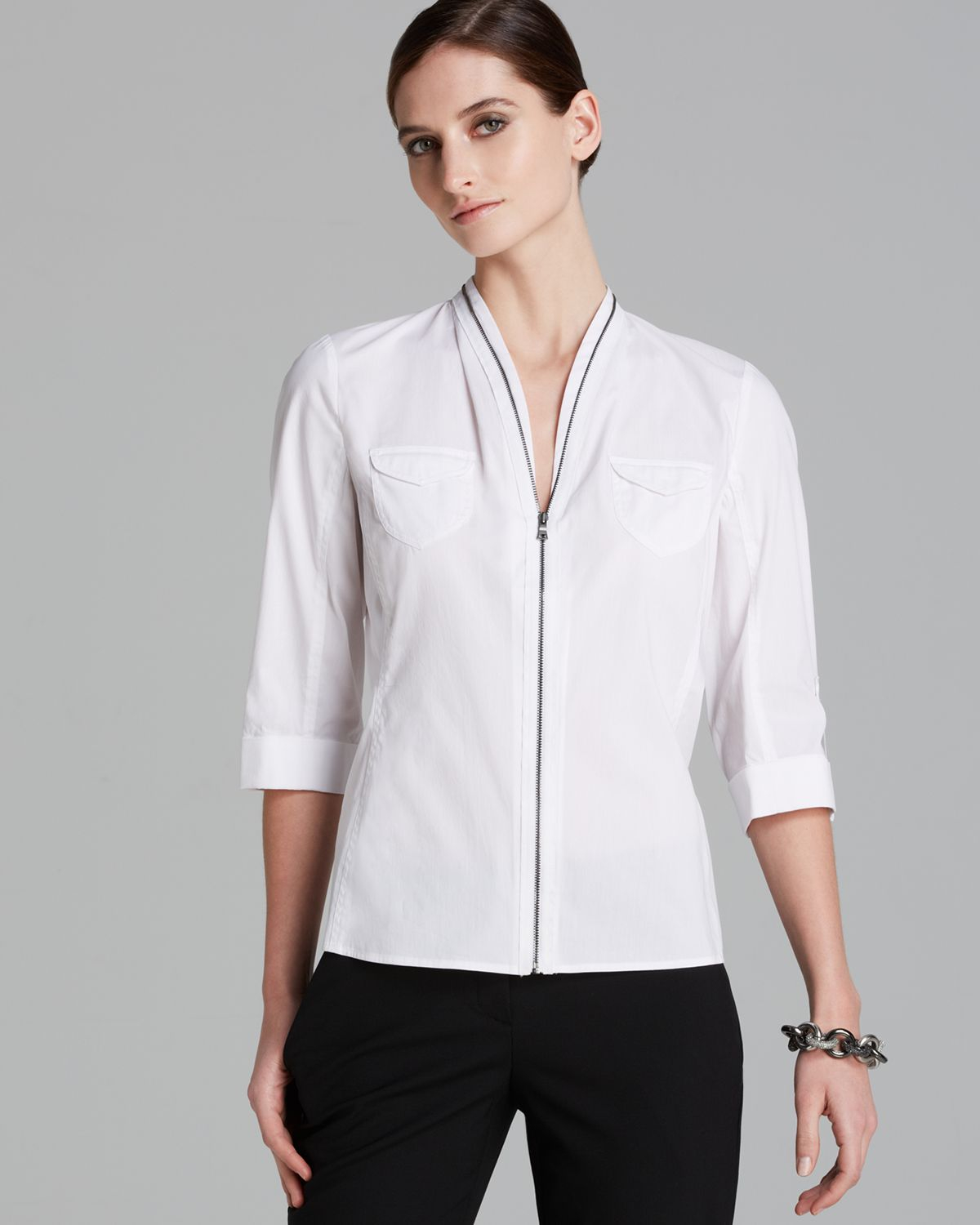 Zip Front Blouse White 66
