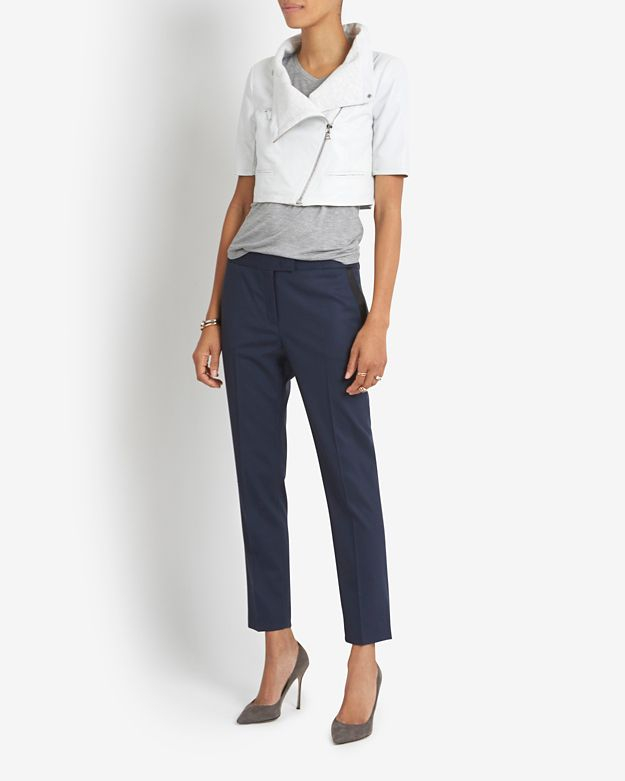 Yigal azrouël Short Sleeve Crop Leather Jacket in White | Lyst