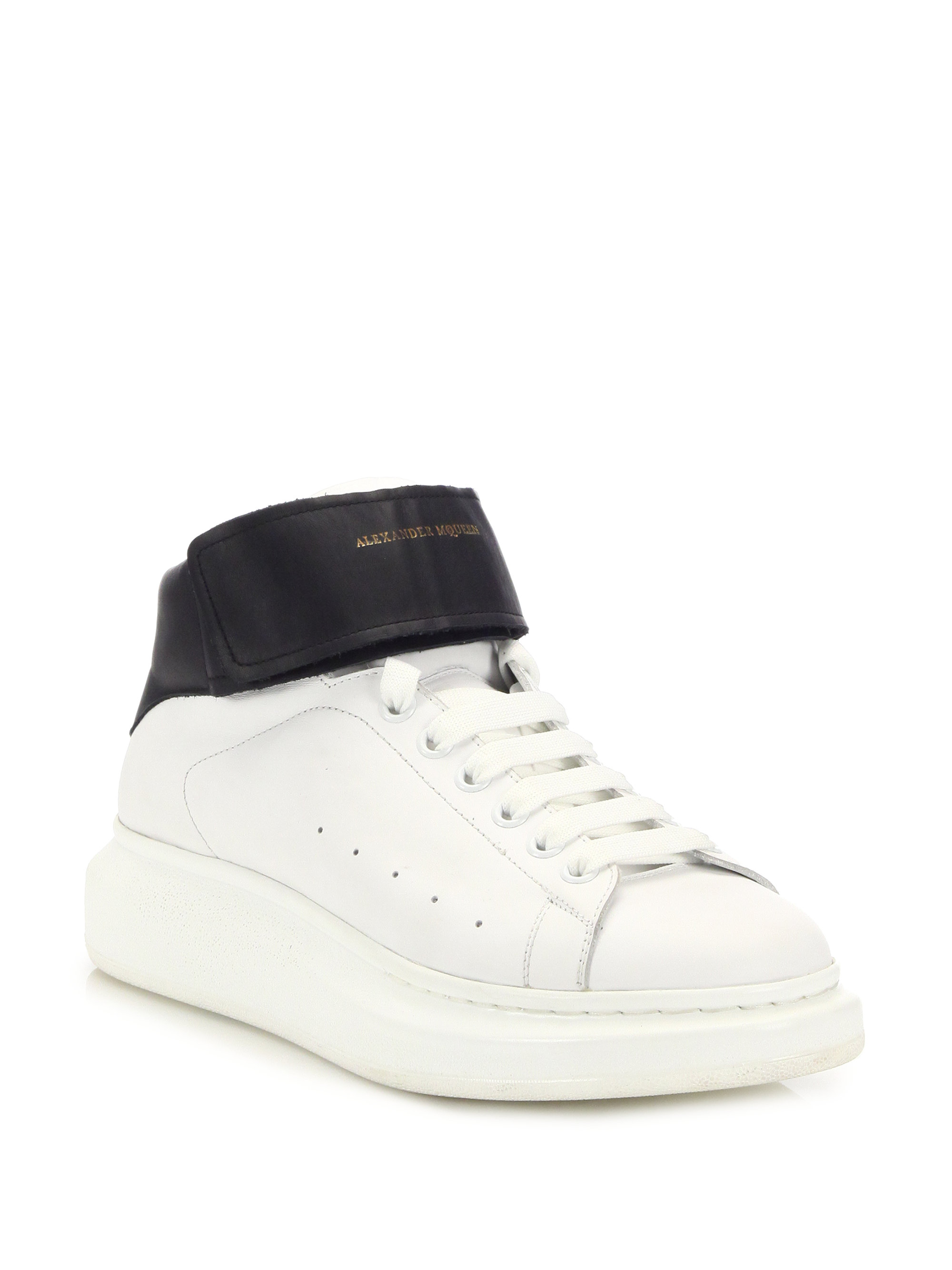 Alexander Mcqueen Ankle Strap High Top Sneakers In Black