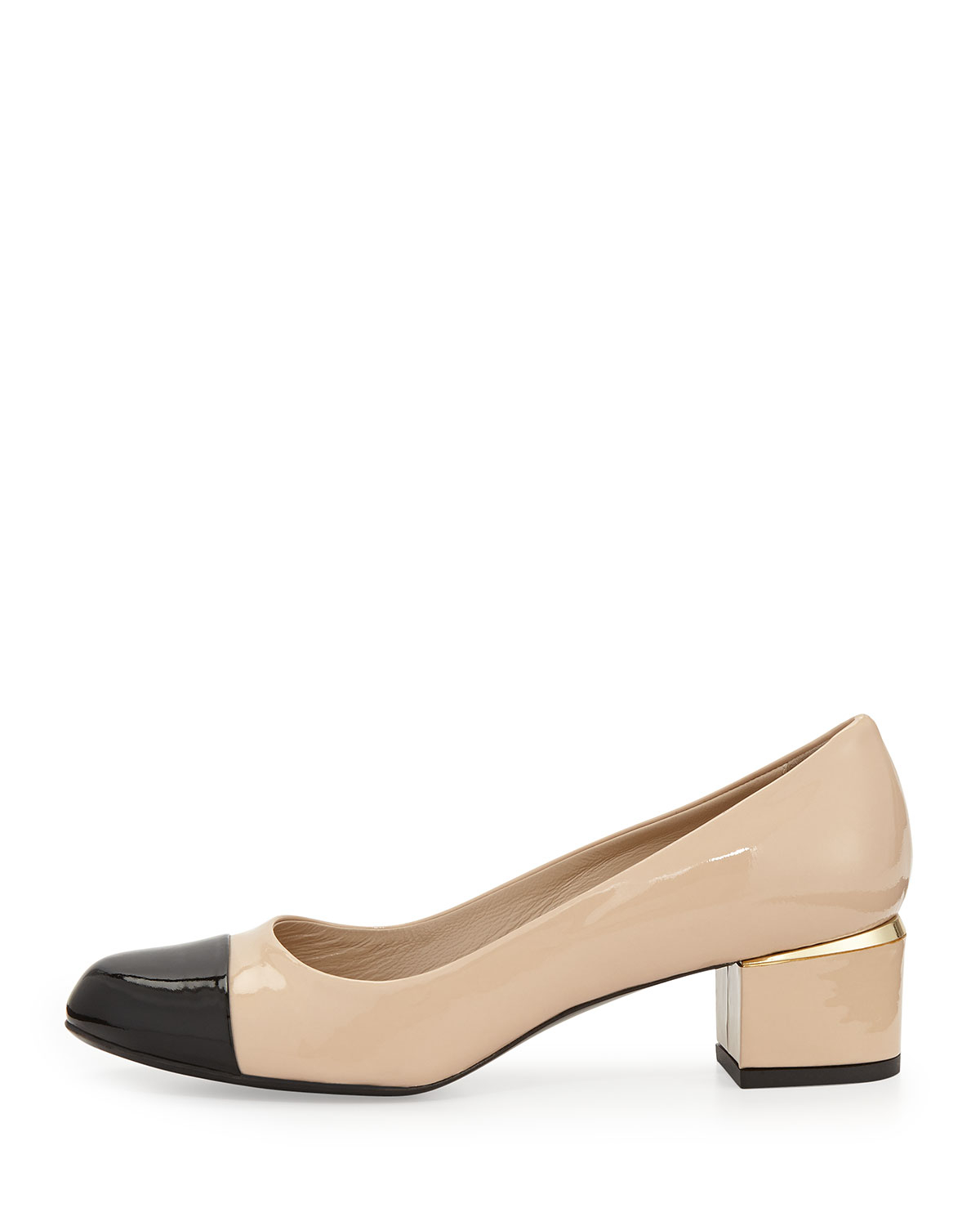 d1ef9989e64 Lyst - Delman Livia Cap-Toe Block Leather Pump in Natural