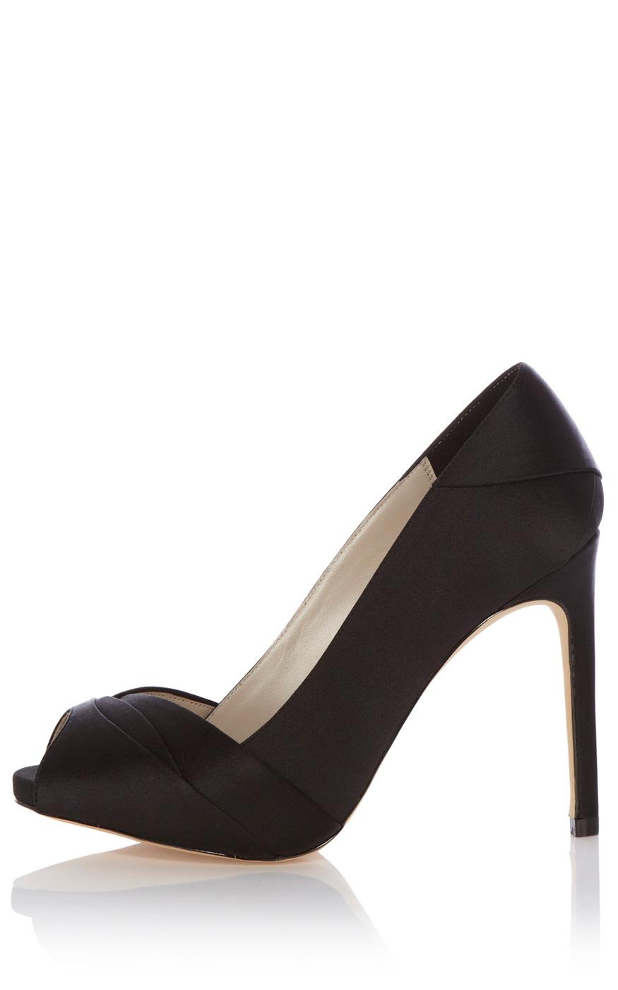 3b74463d1790 Karen Millen Pleated Satin Peep Toe Shoe in Black - Lyst