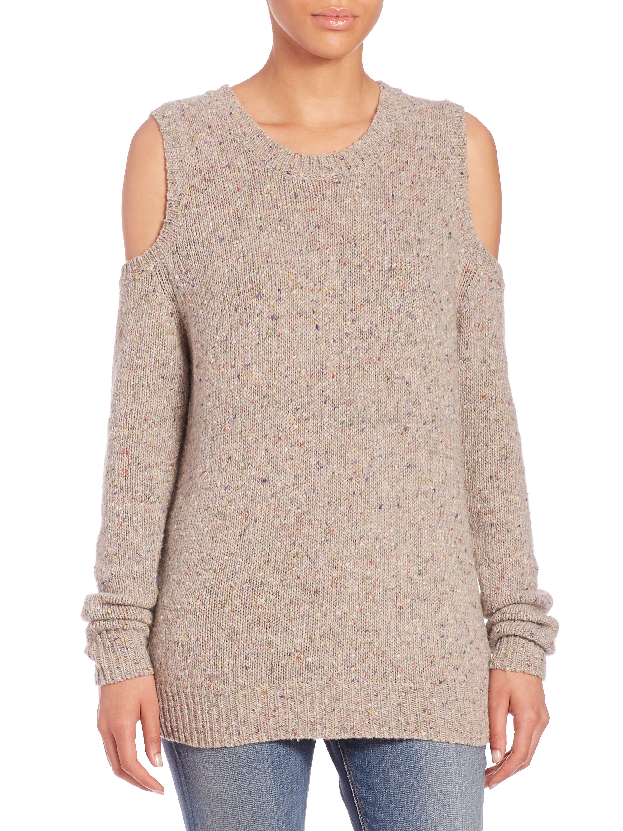 Rebecca Minkoff Page Cold Shoulder Sweater In Gray Lyst