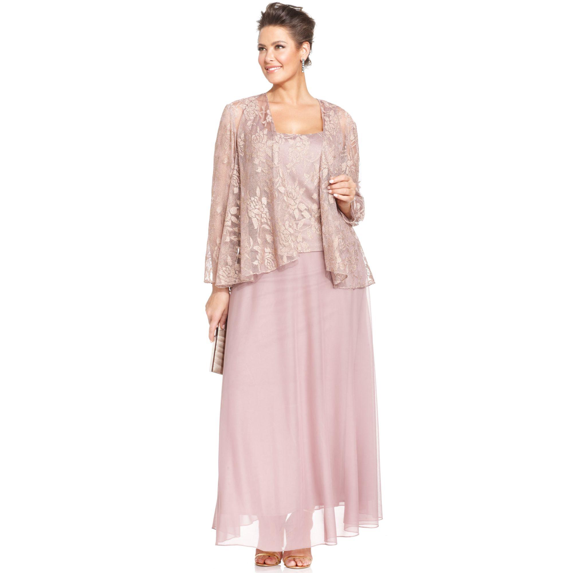 f4ba181254e83 Lyst - Patra Plus Size Metallic Lace Dress and Jacket in Metallic