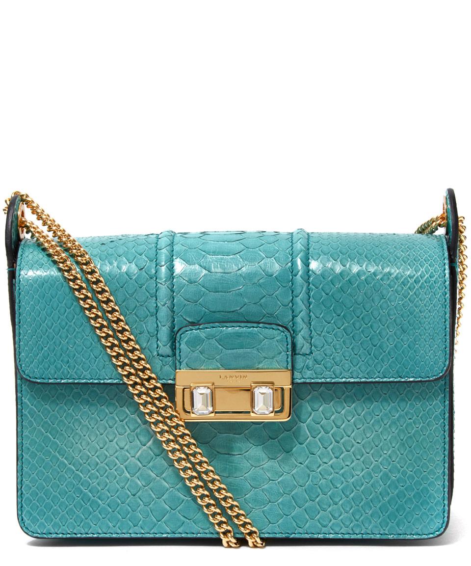 Lanvin Turquoise Jiji Python Small Shoulder Bag In Blue Lyst