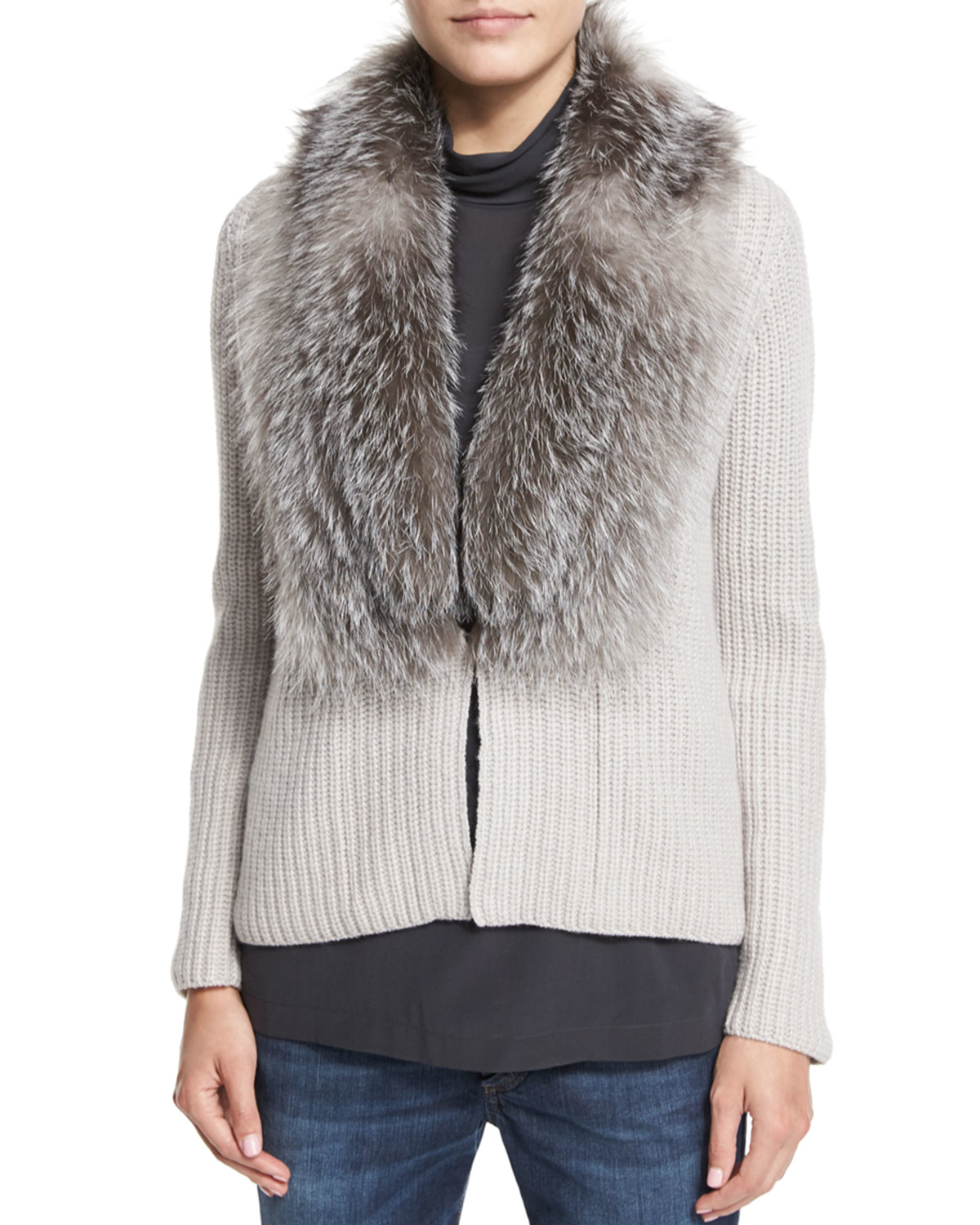 Fox Fur Collar Cardigan | Mount Mercy University