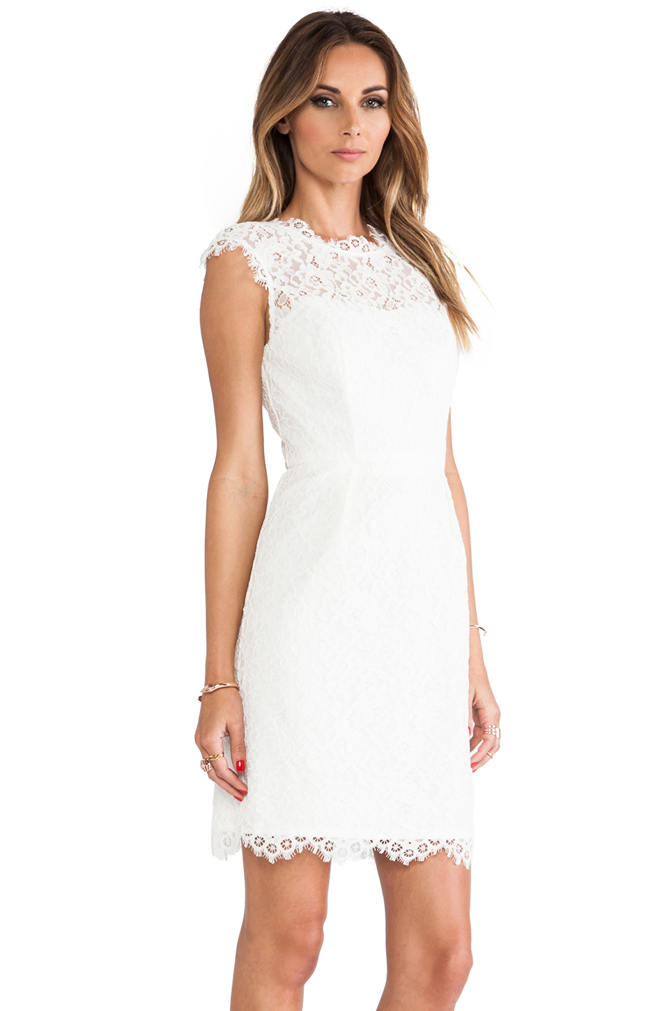 Shoshanna Lace Scarlett Dress in White | Lyst