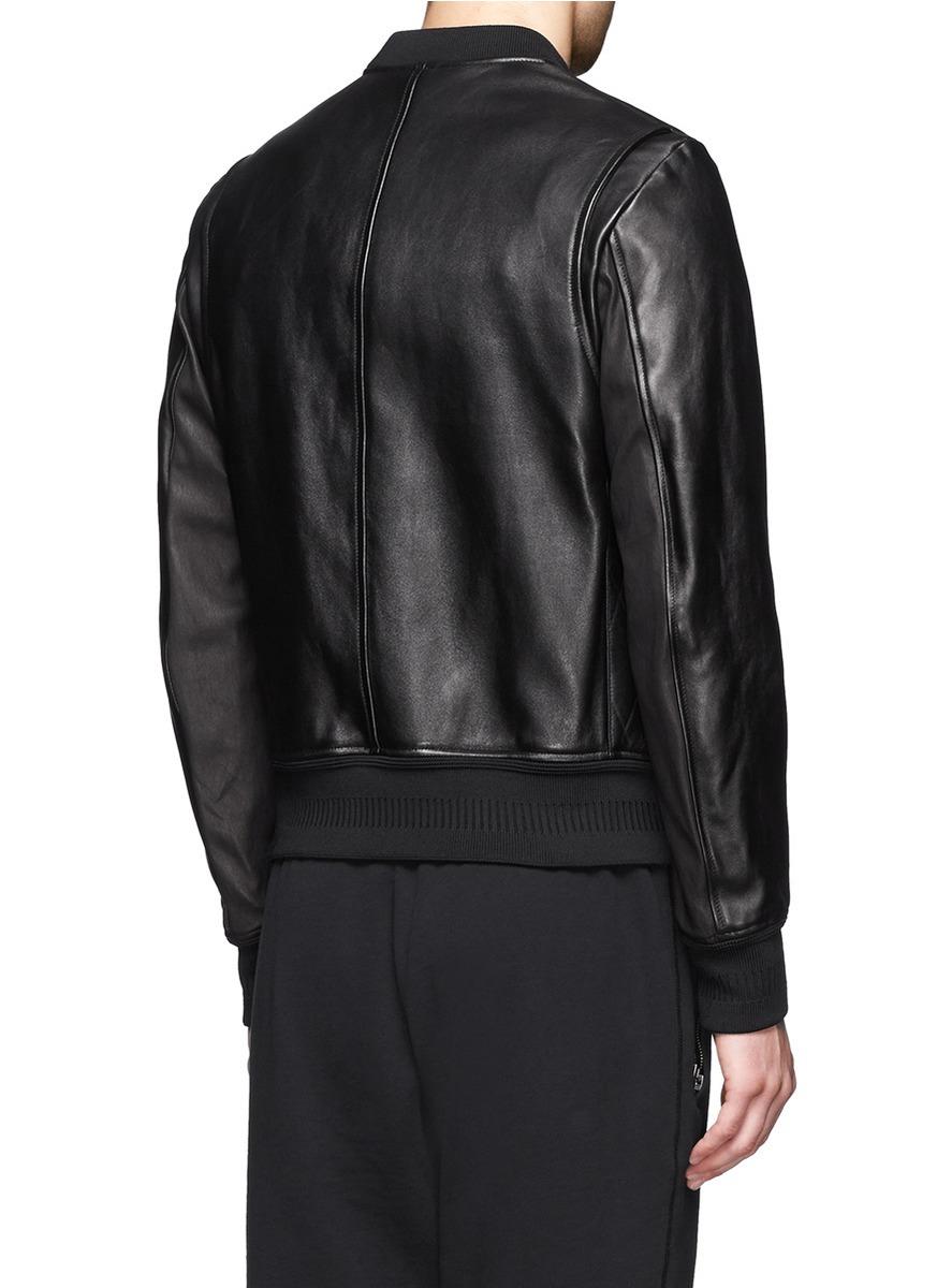 Neil Barrett Rhombus Embossed Leather Bomber Jacket In