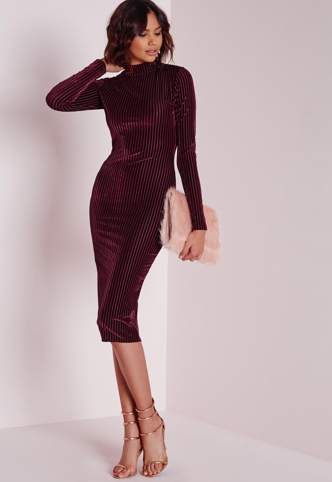 eb7e80846b03 Lyst - Missguided Velvet Ribbed Long Sleeve Midi Dress Burgundy in ...