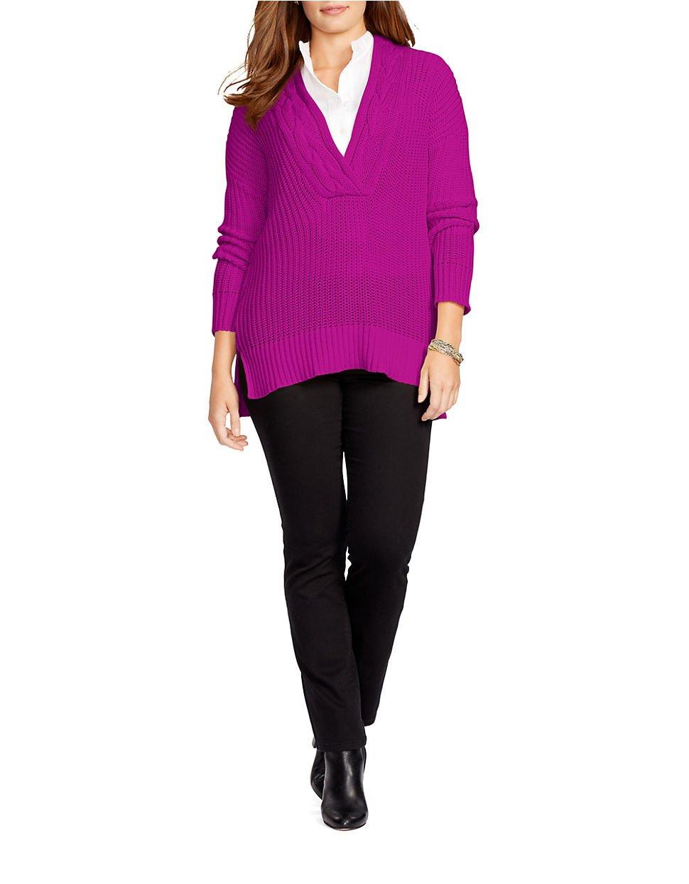 Lauren by ralph lauren Plus Ribbed Cotton Sweater in Purple | Lyst