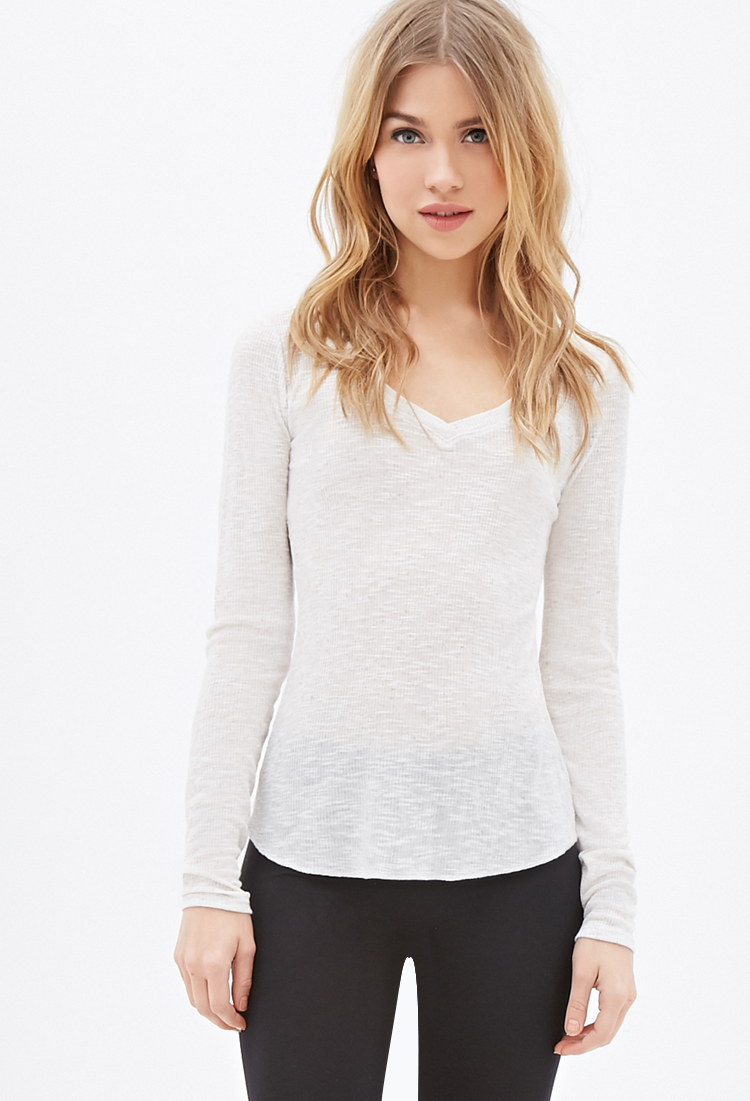 Lyst Forever 21 Heathered Ribbed Knit Top In Natural