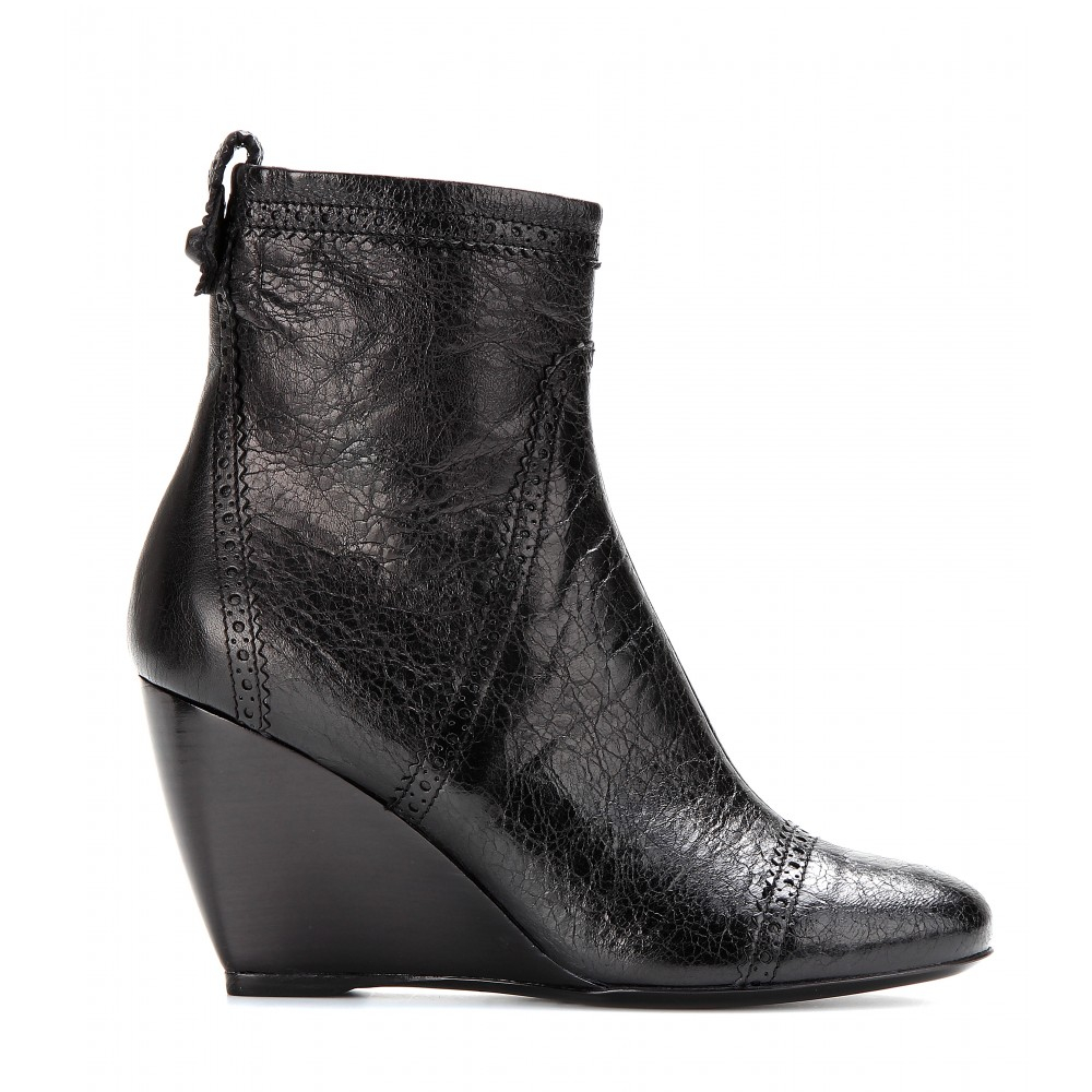 balenciaga leather wedge brogue ankle boots in black noir