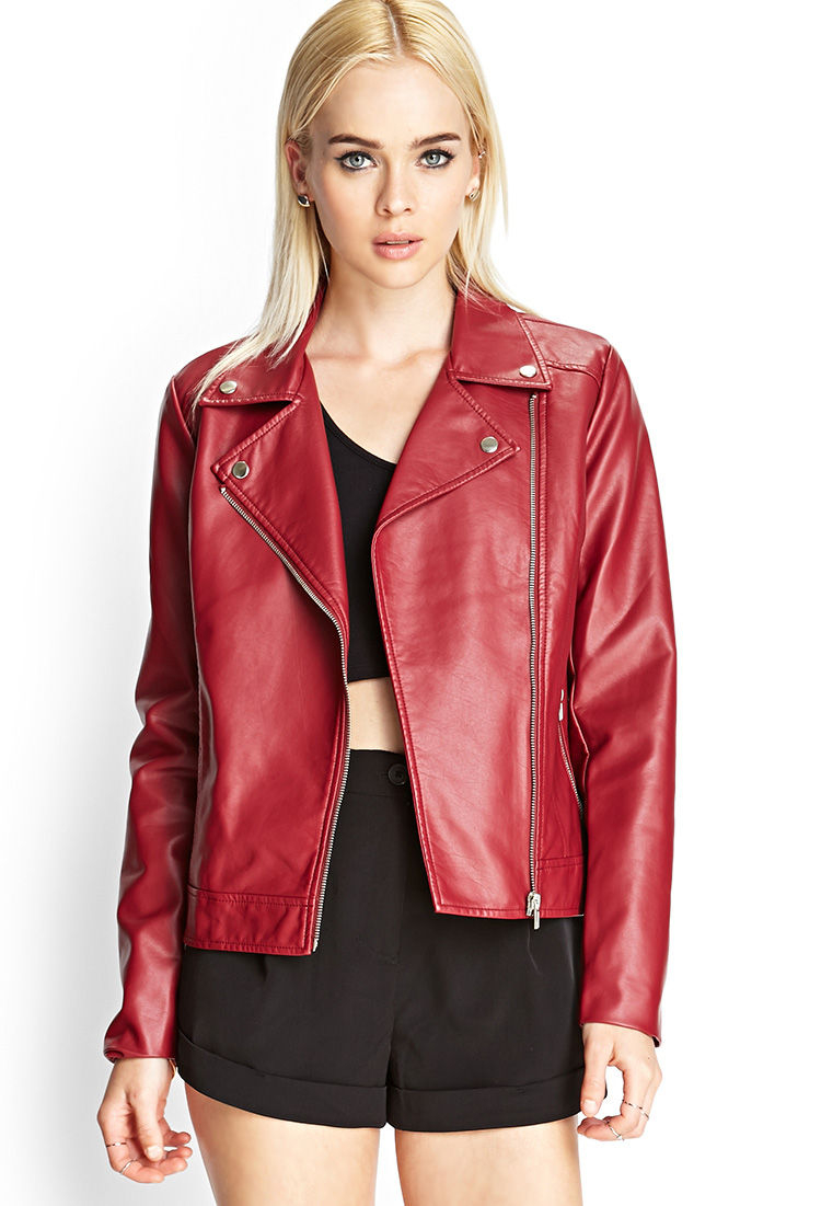 58ca301a7 Black Sandals: Forever 21 Faux Leather Jacket