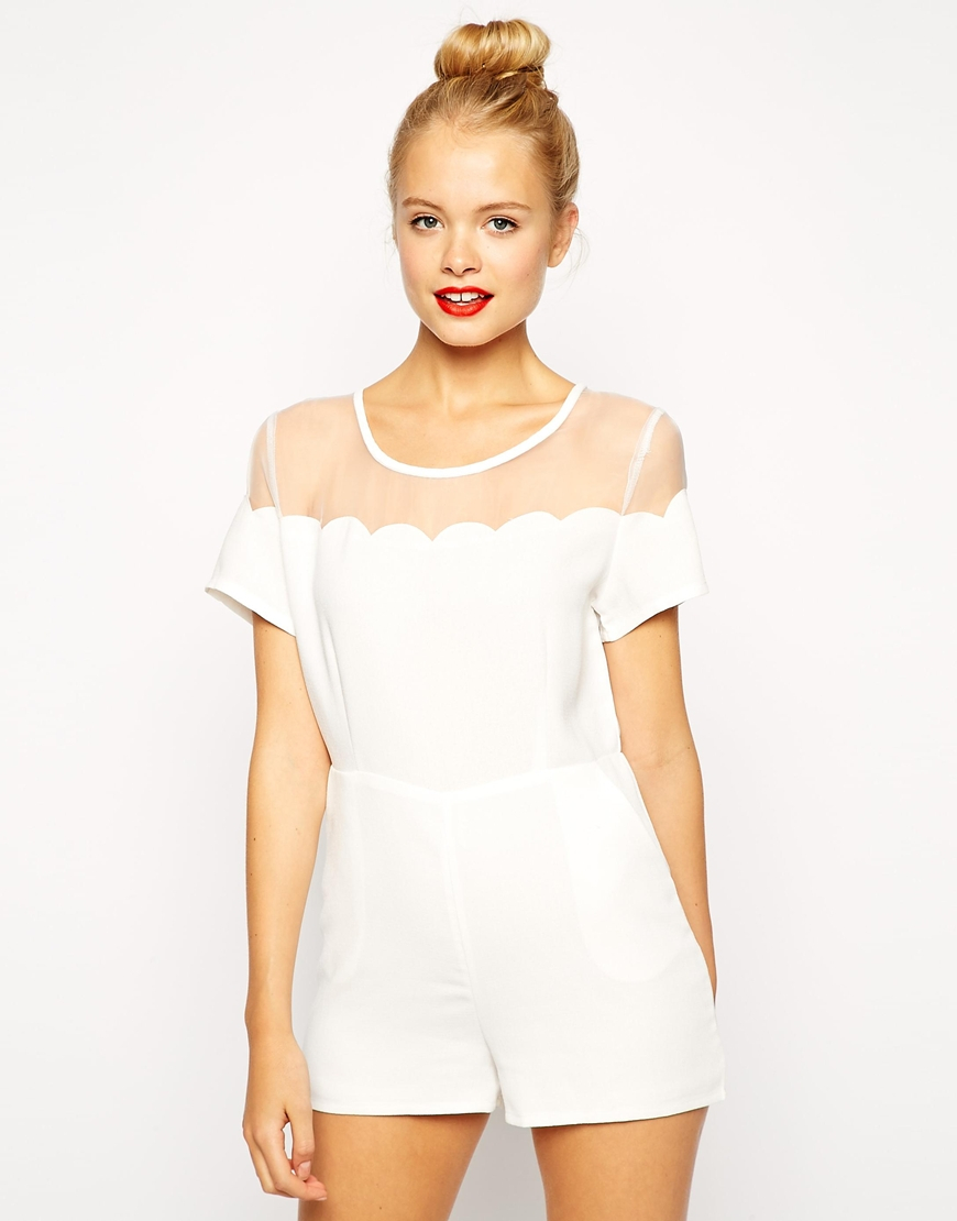 e9d5917aaf Lyst - Fashion Union Playsuit With Scallop Mesh Detail in White