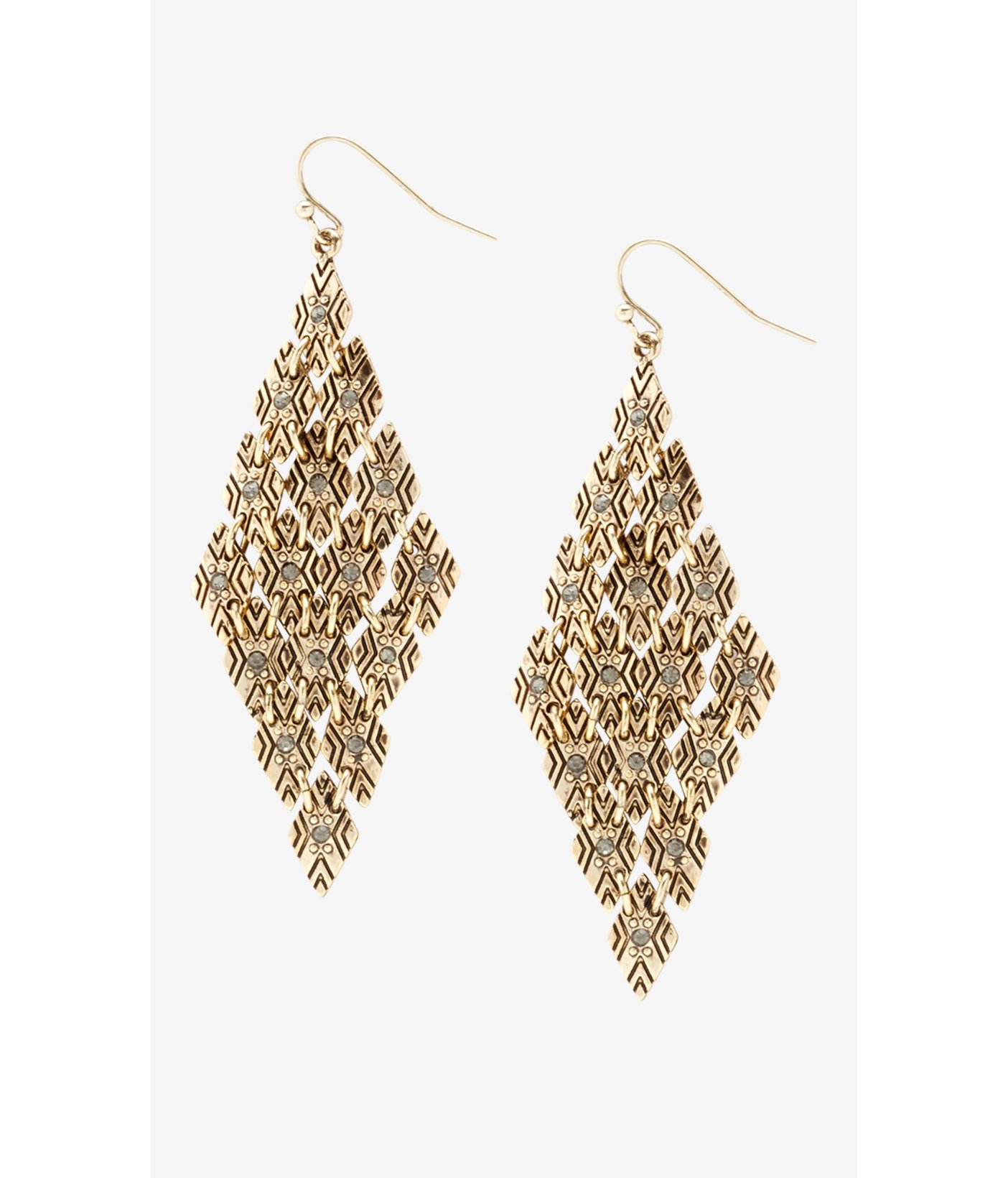 Lyst Express Diamond Shaped Textured Mesh Drop Earrings