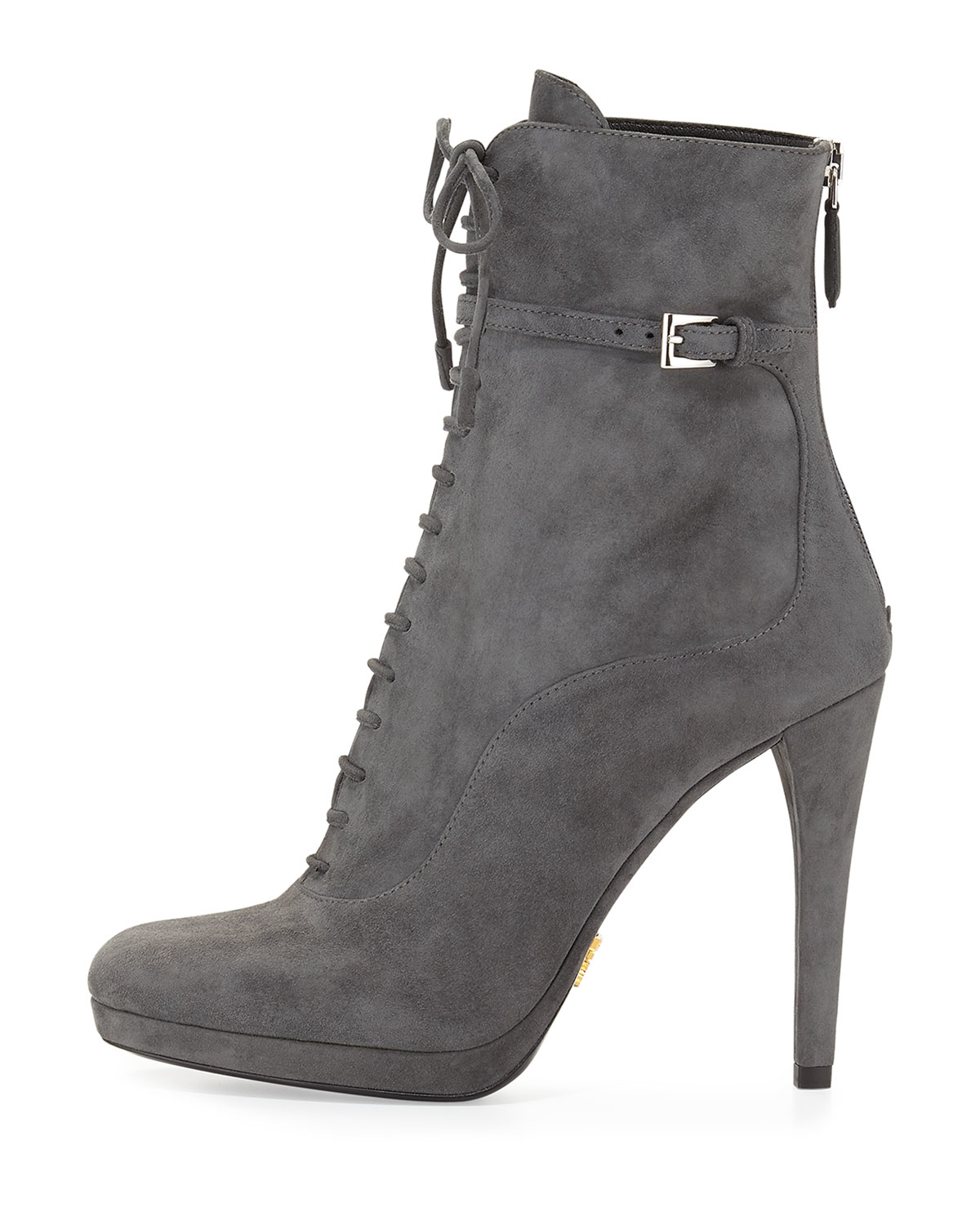 591645ceb22 Prada Grey Suede Ankle Boots