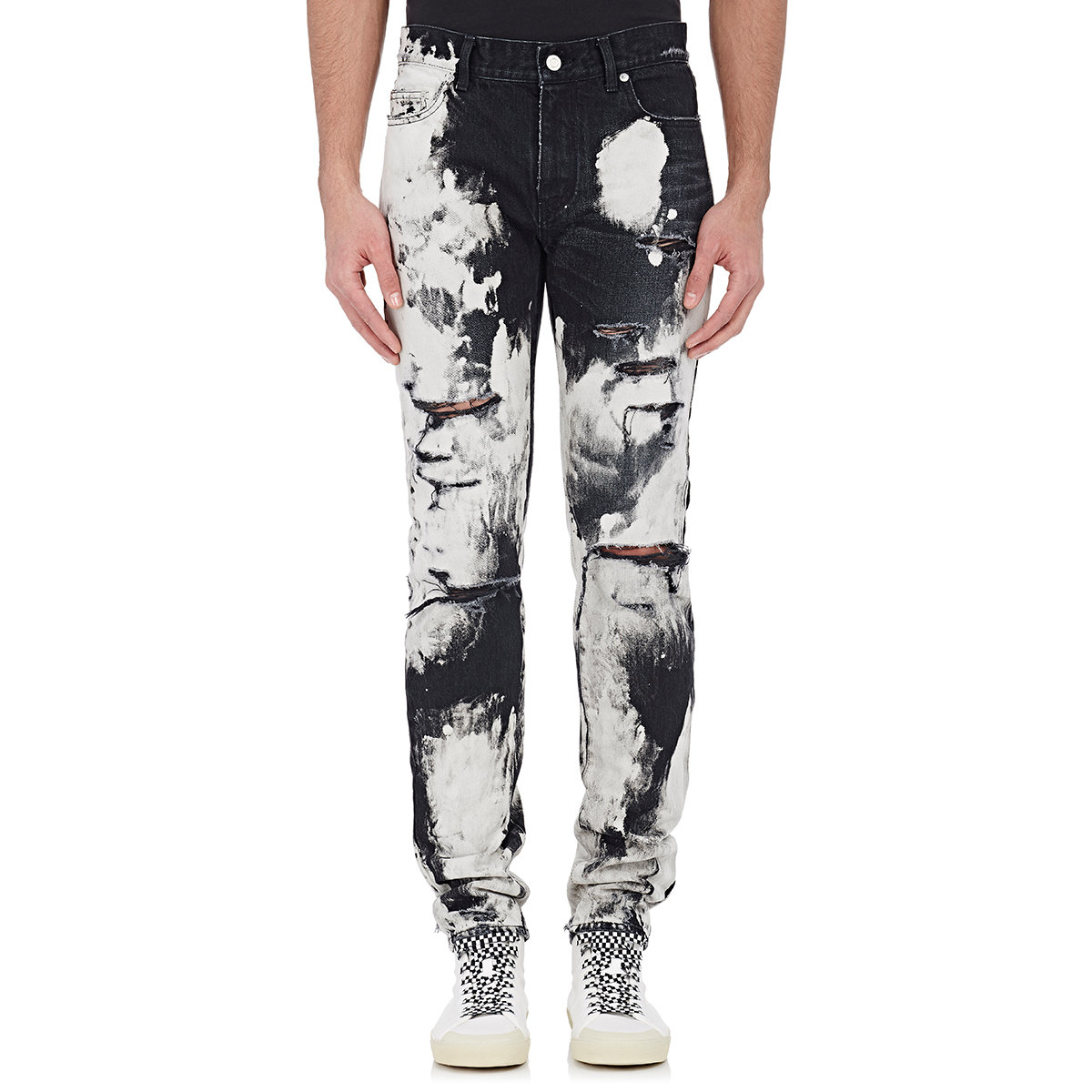 Saint laurent Distressed Bleached Jeans in White for Men | Lyst