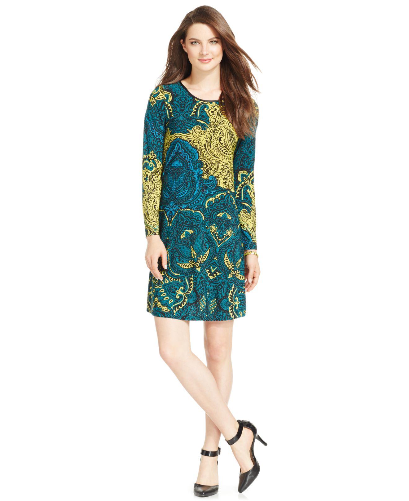Lyst Spense Petite Long Sleeve Printed Dress In Blue
