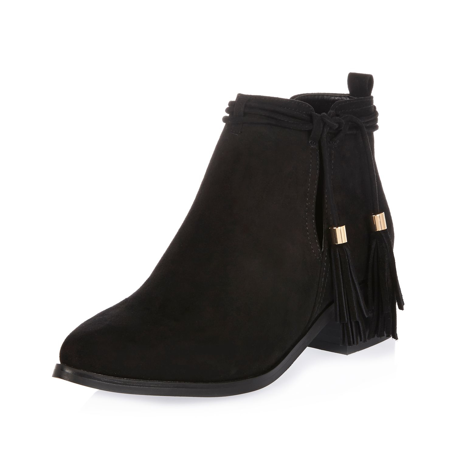 River island Black Tassel Cut-out Ankle Boots in Black | Lyst