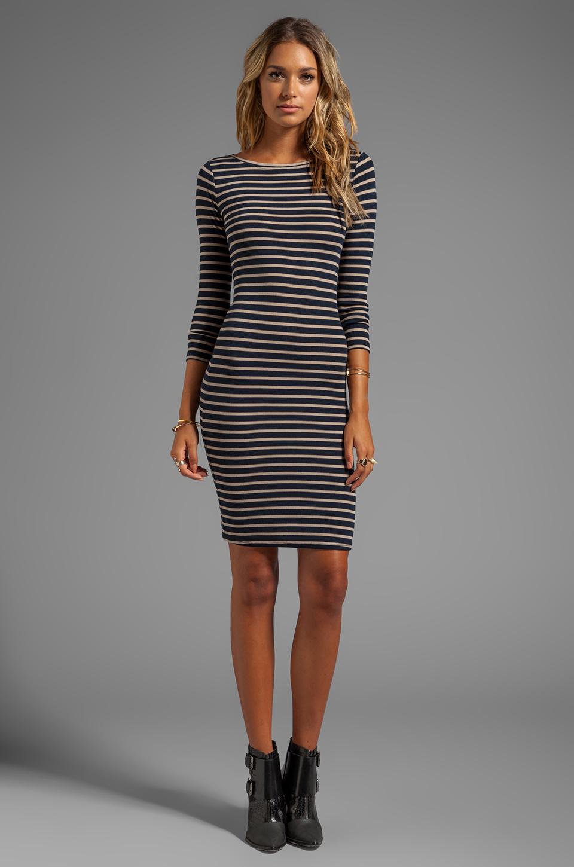 Bcbgmaxazria Long Sleeve Striped Dress in Black | Lyst
