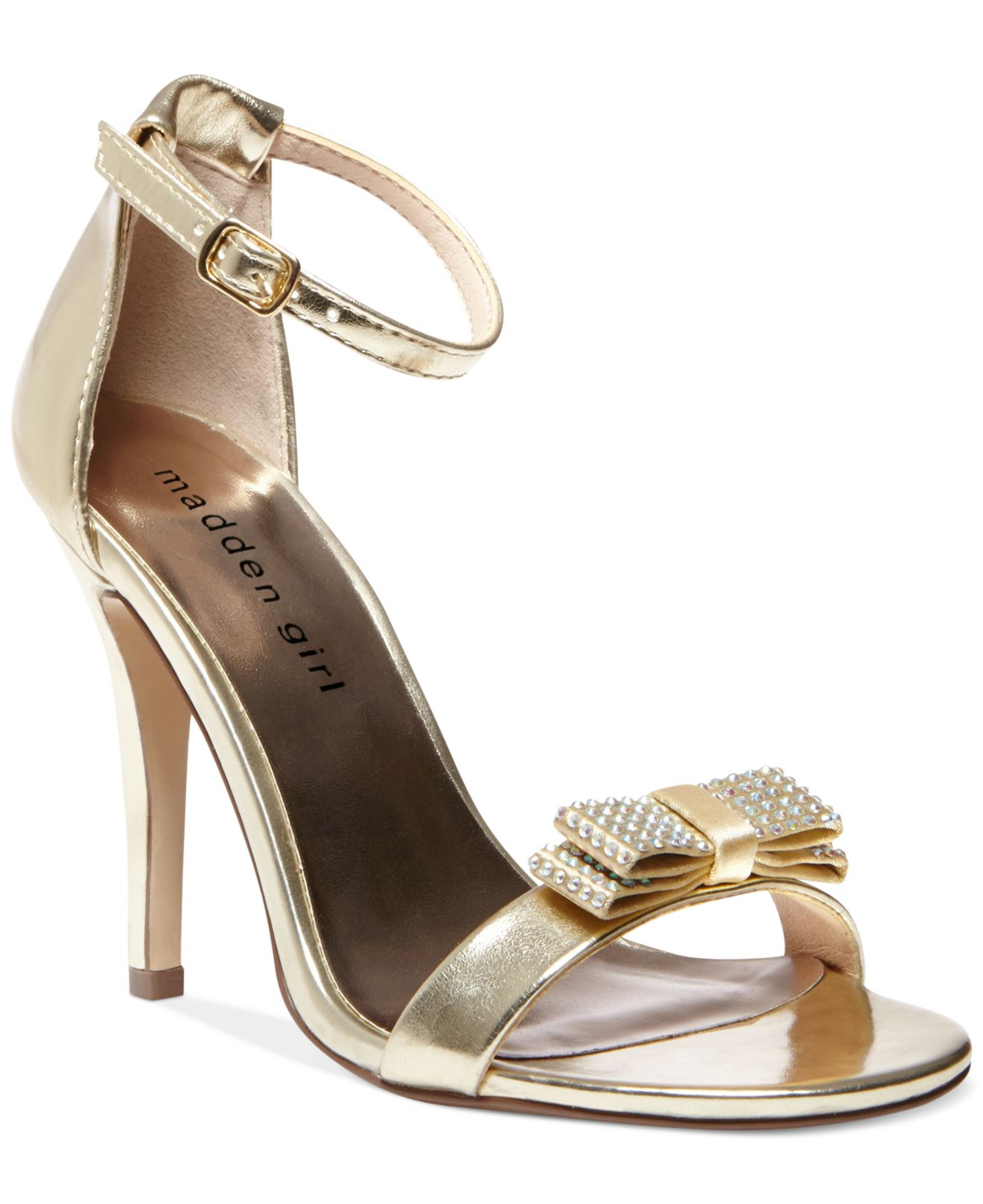 7ae14bfdb Lyst - Madden Girl Darlaaa Rhinestone Bow Dress Sandals in Metallic