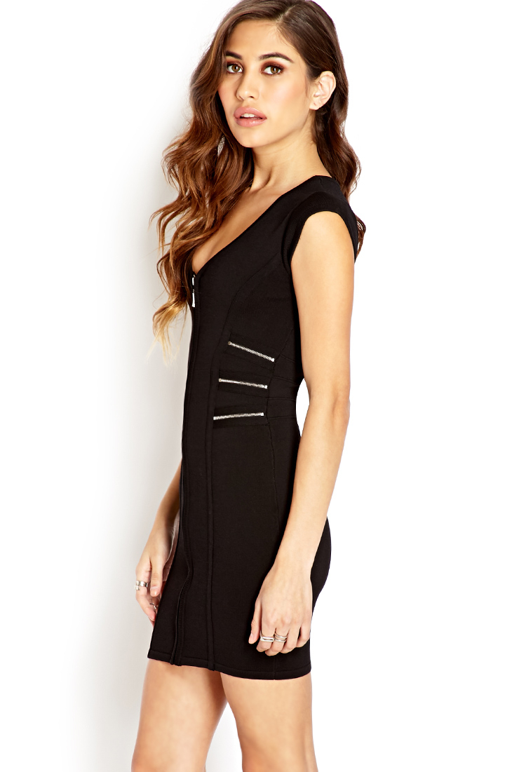 Lyst Forever 21 Daring Zippered Bodycon Dress In Black