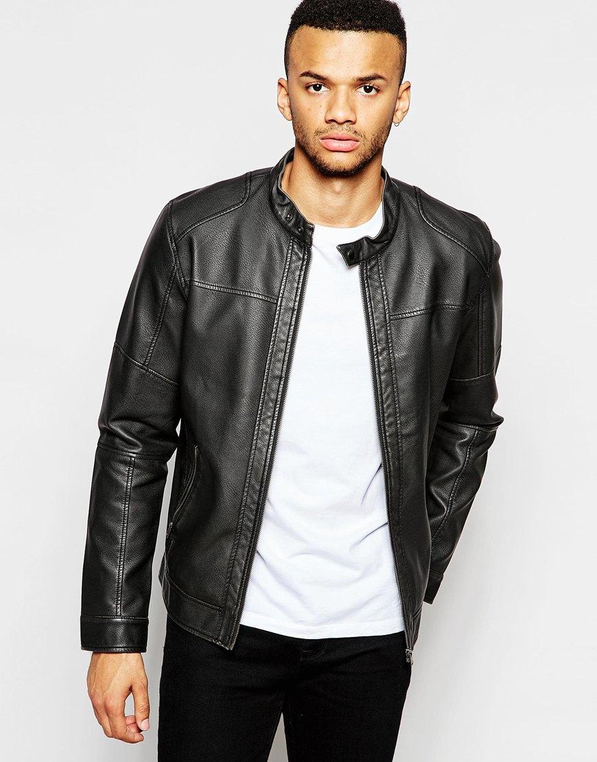 jack jones faux leather jacket with biker collar in black for men lyst. Black Bedroom Furniture Sets. Home Design Ideas