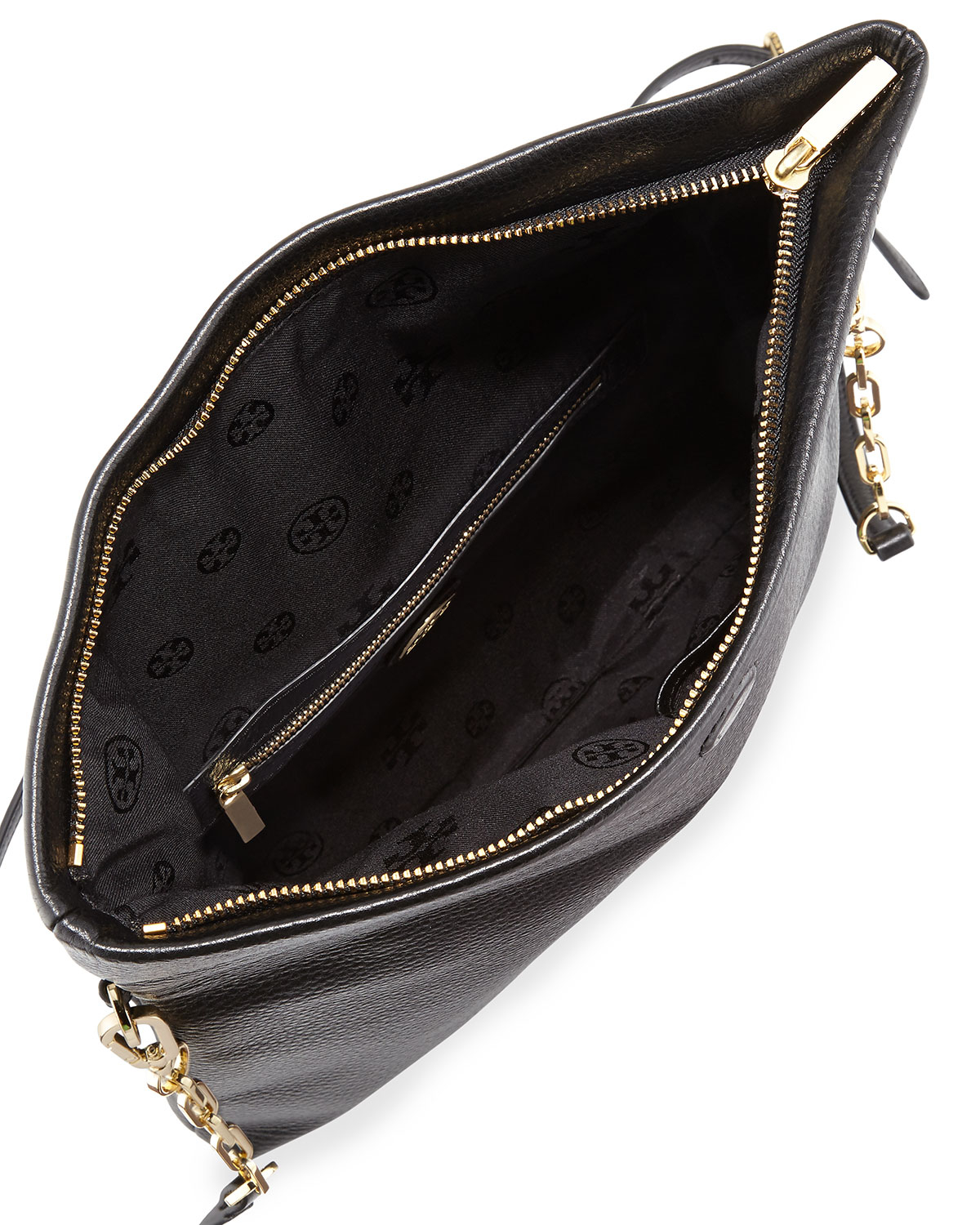 Tory burch Bombe Fold-Over Crossbody Clutch Bag in Black | Lyst