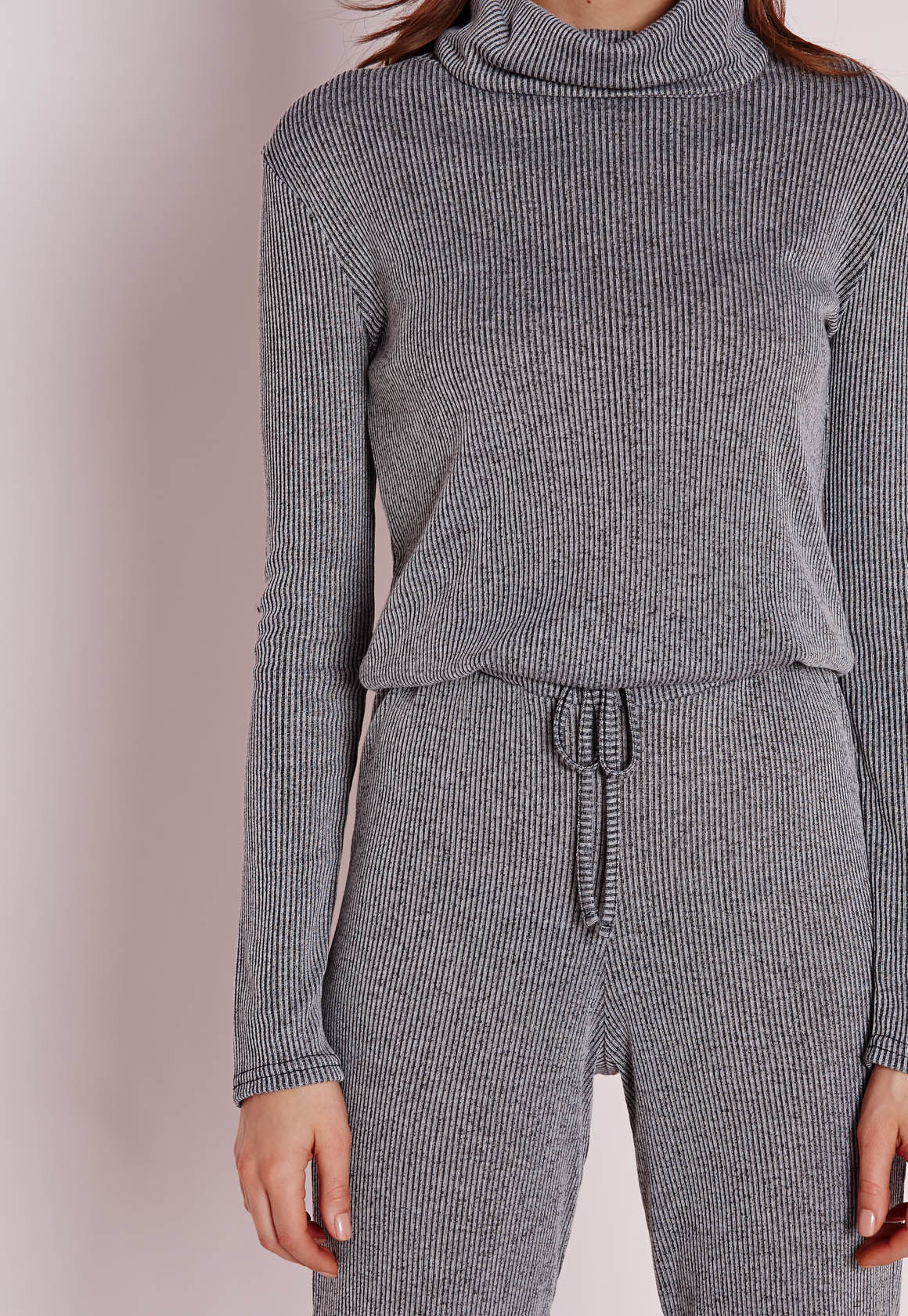 74abc52d71e Lyst - Missguided Long Sleeve Ribbed Drawstring Jumpsuit Grey in Gray