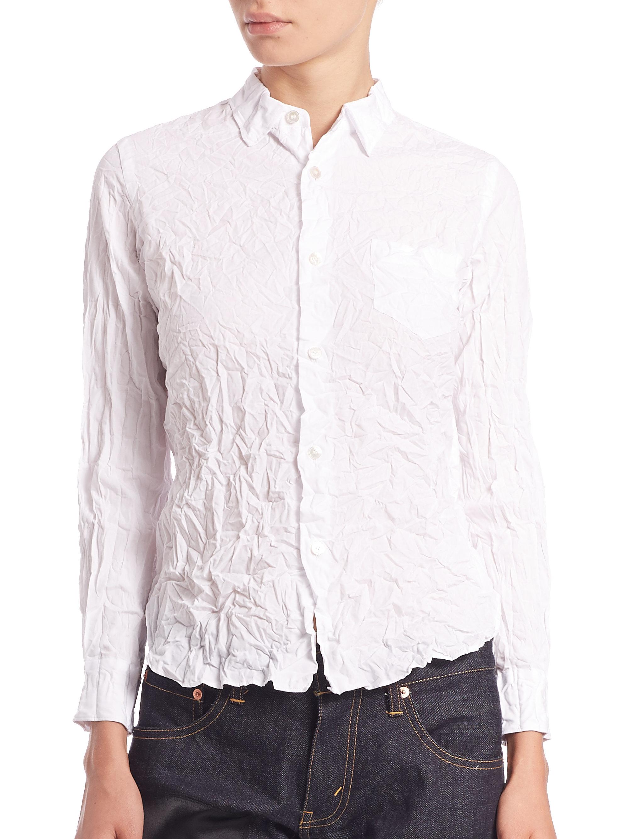 Junya watanabe Wrinkled Poplin Shirt in White | Lyst