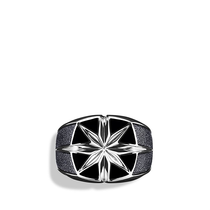 Onyx Inlay Star Men S Ring