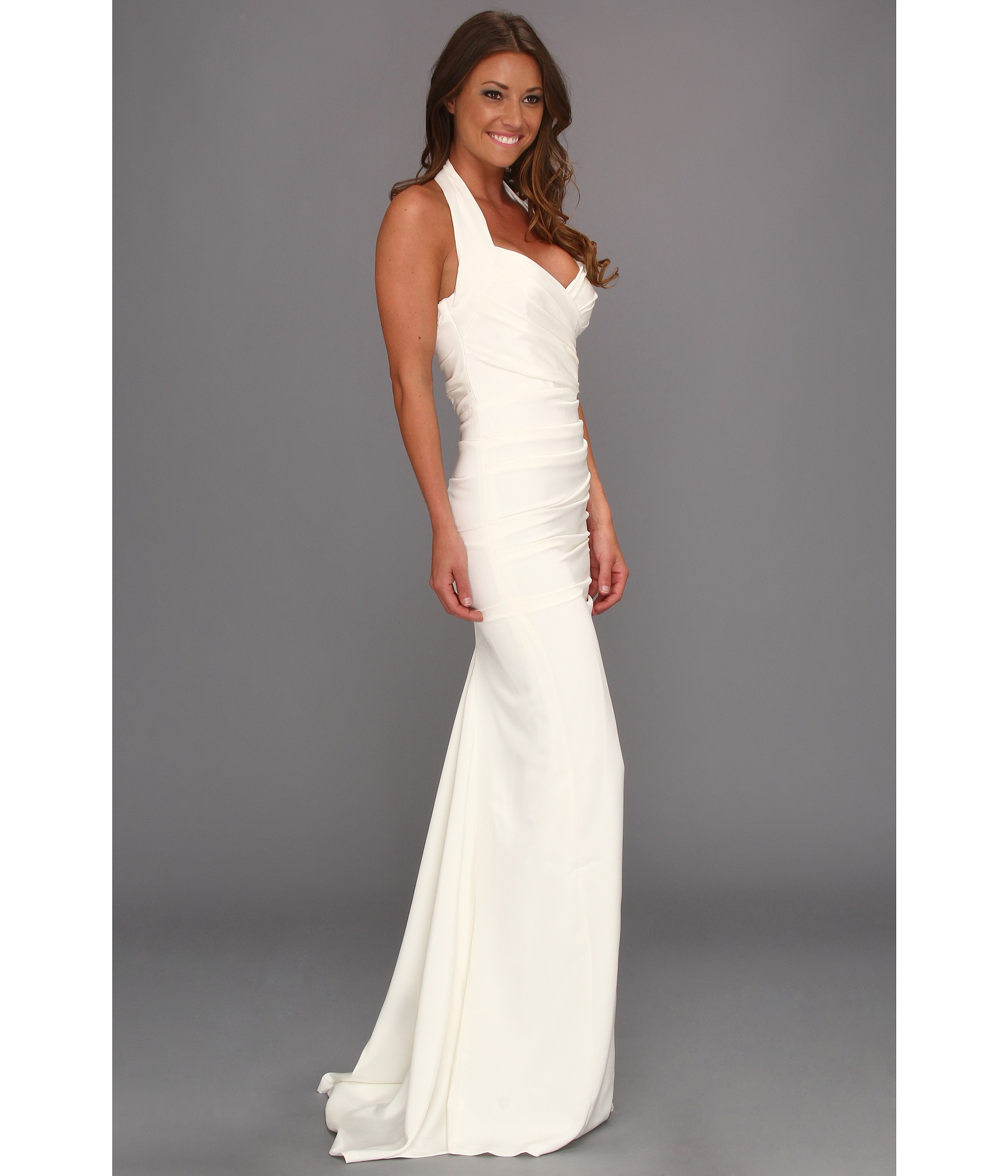 Lyst - Nicole Miller Marilyn Solid Ruched Halter Gown in White
