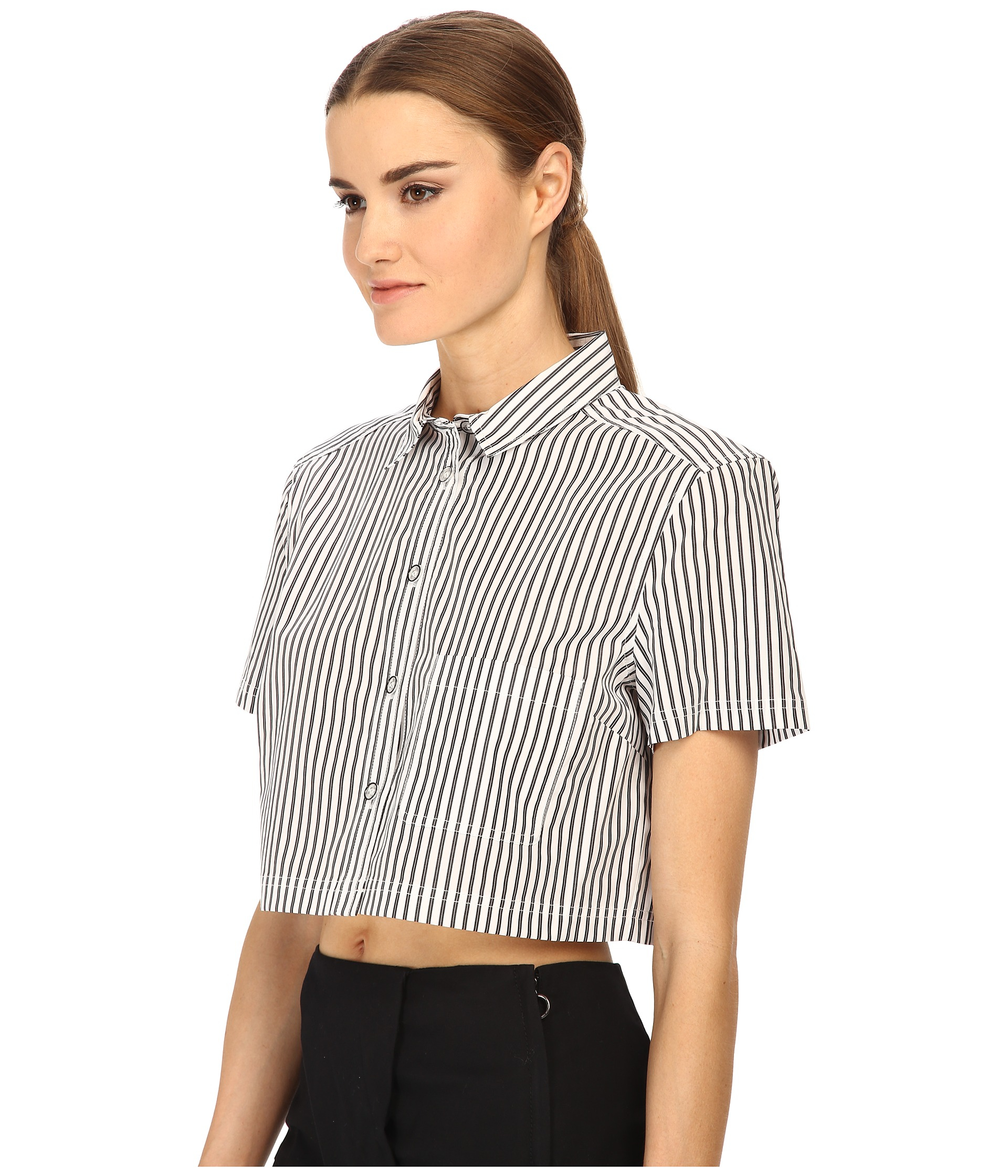 Marc by marc jacobs button up shirt crop in metallic lyst for Silver metallic shirt women s