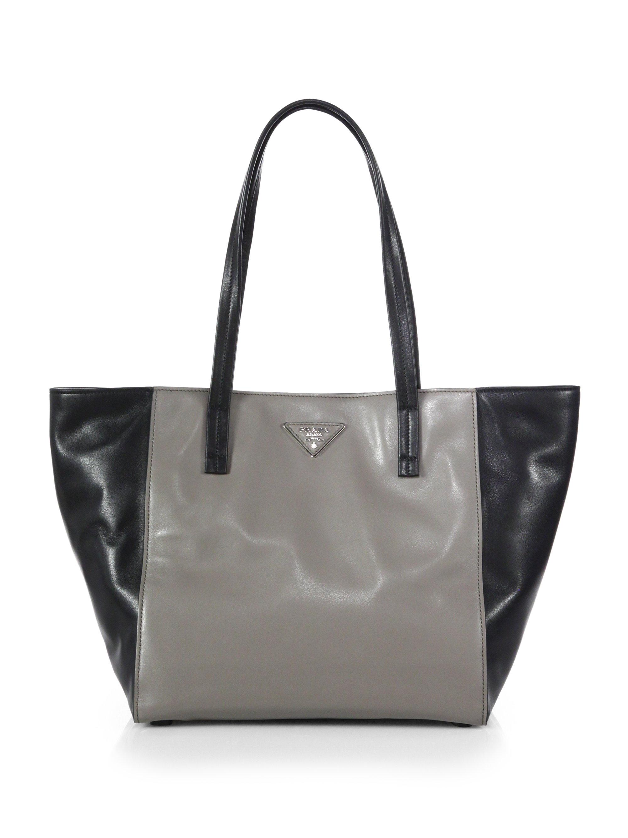 Prada Soft Calf Two-Tone Leather Shoulder Tote in Black (GREY ...