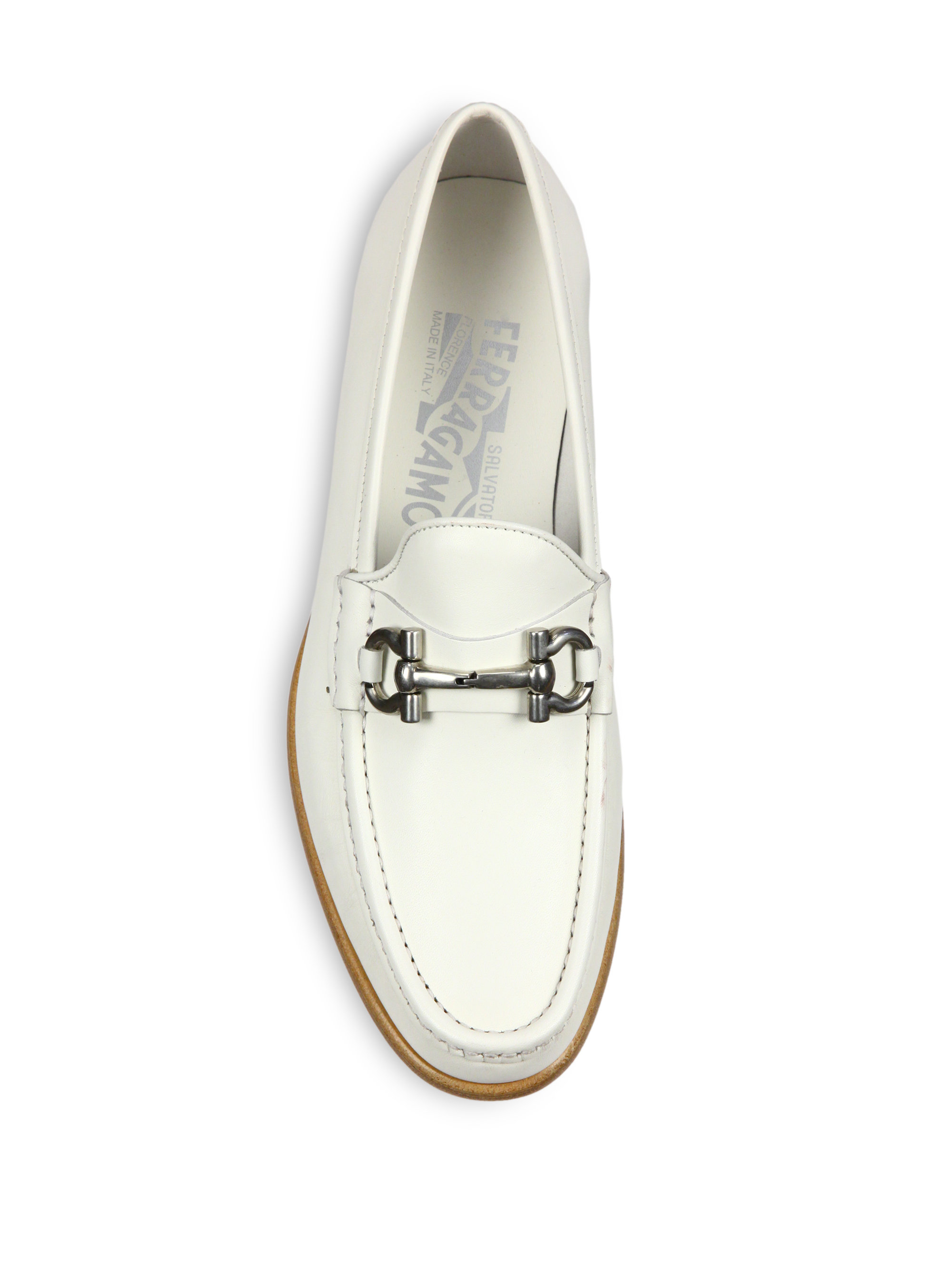 ferragamo leather bit loafers in white lyst