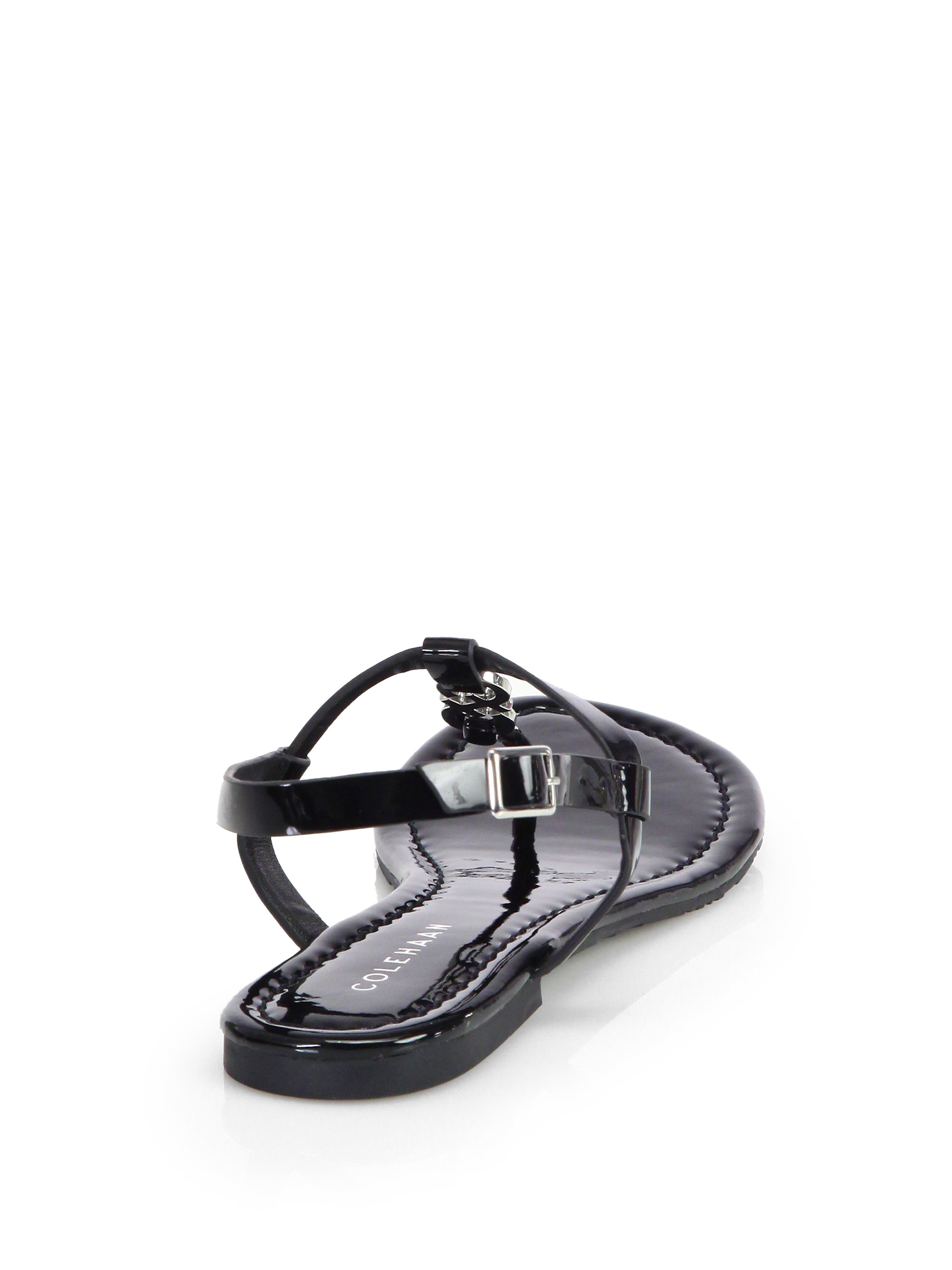 86109a81d0eeaa Lyst - Cole Haan Ally Patent Leather Thong Sandals in Black