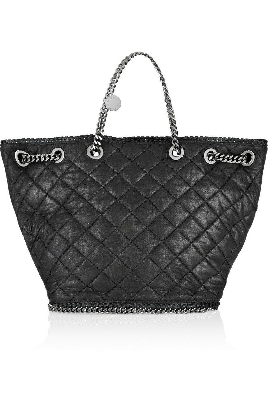 93d374b6a108 Lyst - Stella Mccartney Chain Embellished Quilted Faux Leather Tote ...
