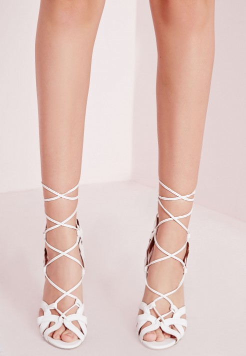af459fb95eb Missguided Tassel Trim Lace Up Gladiator Sandals White in White - Lyst